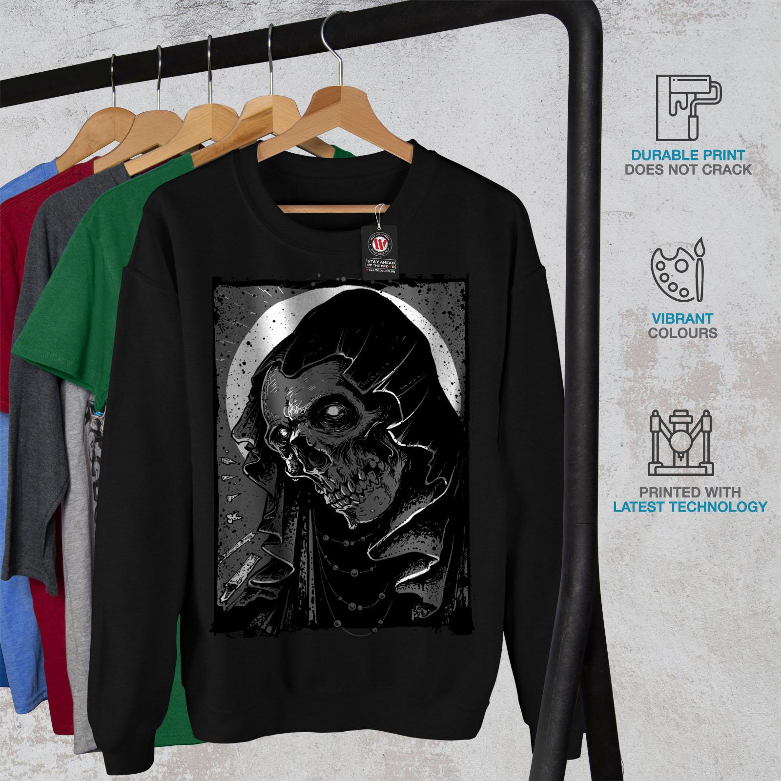 Reaper Grim New Skull Hell Black Felpa Men qBBFd