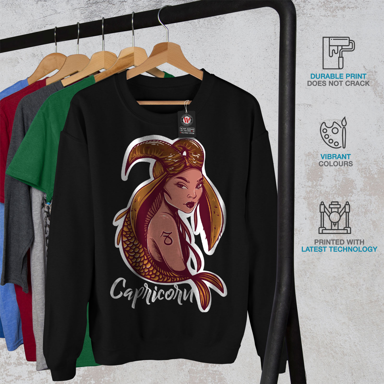 Zodiac Sign Casual Jumper wellcoda Capricorn Mens Sweatshirt