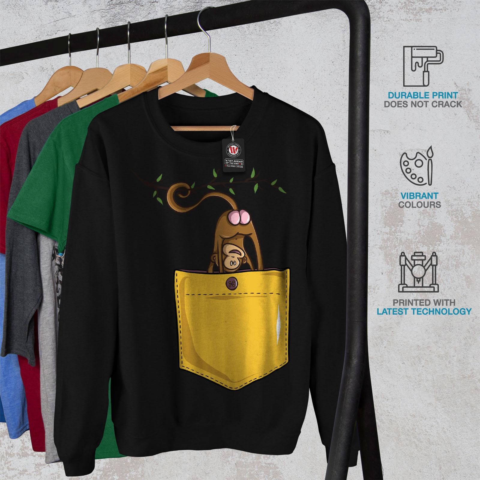 Noir Monkey Men Pocket Sweatshirt Nouveau 76WqSdOw