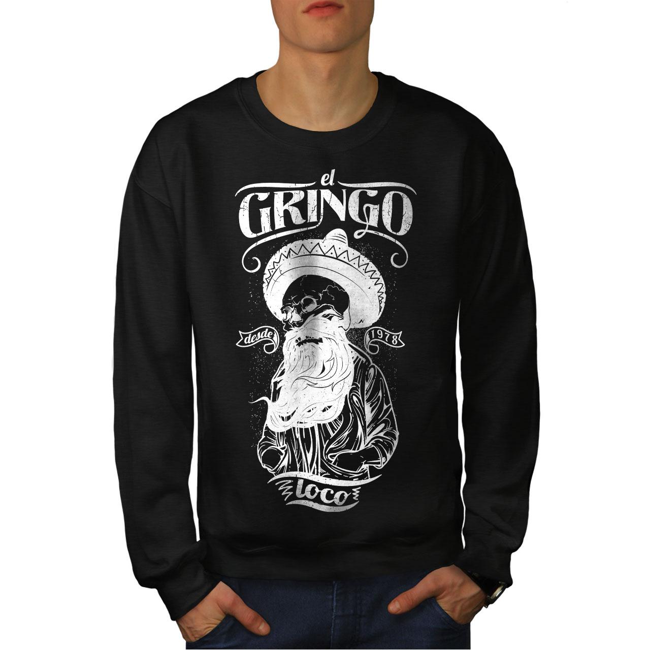 Nuevo Negro Sudadera Men Beard Gringo Skull TwqgPxY
