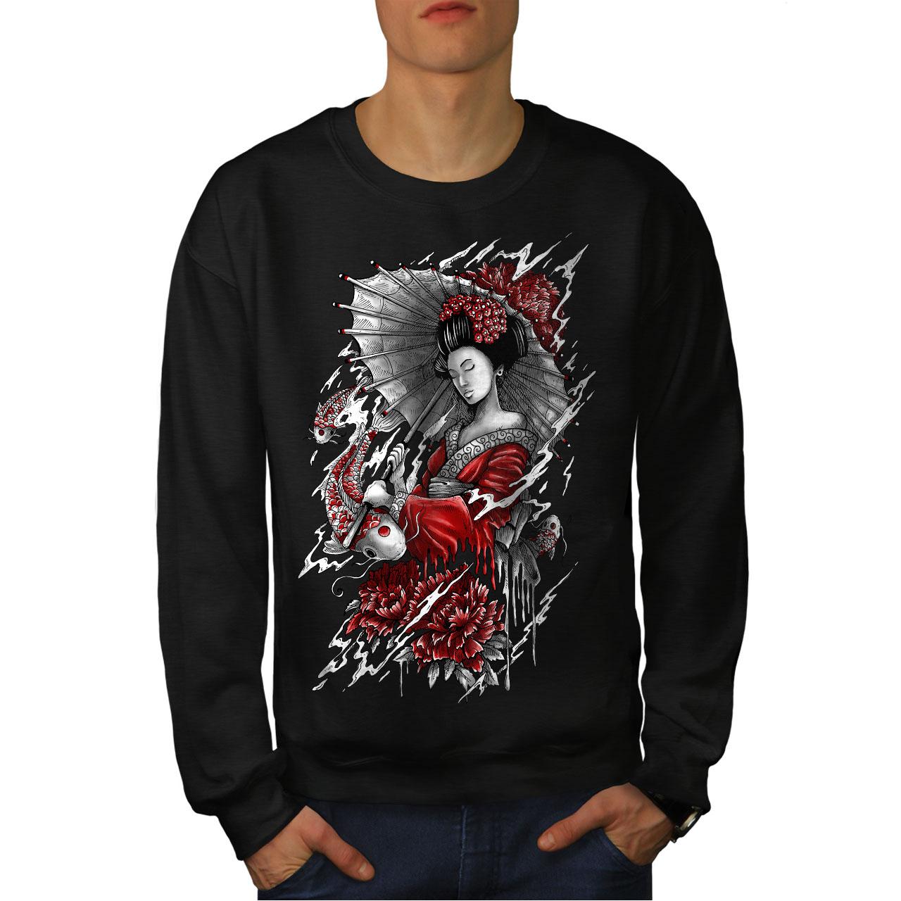 Geisha Japan Art Fantasy Men Sweatshirt NEWWellcoda