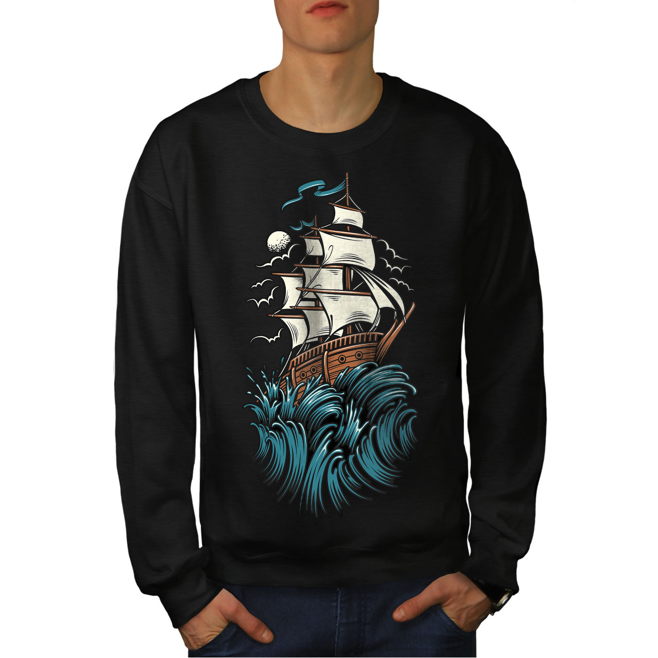 Horror Waves Sail Felpa New Black Ship da uomo tI6wwq1X