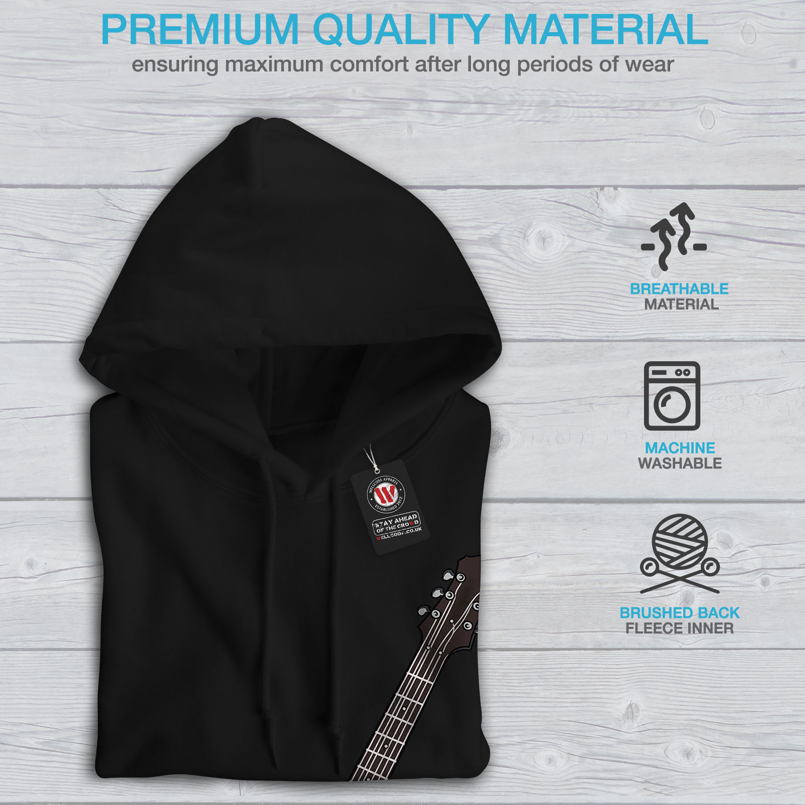 Wellcoda New Mens Hoodie Six-string Guitar Casual Hooded Sweatshirt