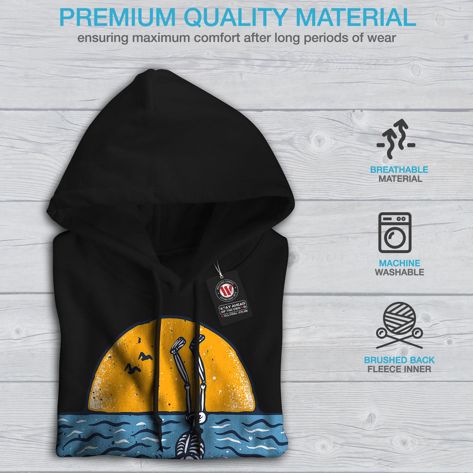 Wellcoda Surfer Skeleton Mens Hoodie Holidays Casual Hooded Sweatshirt