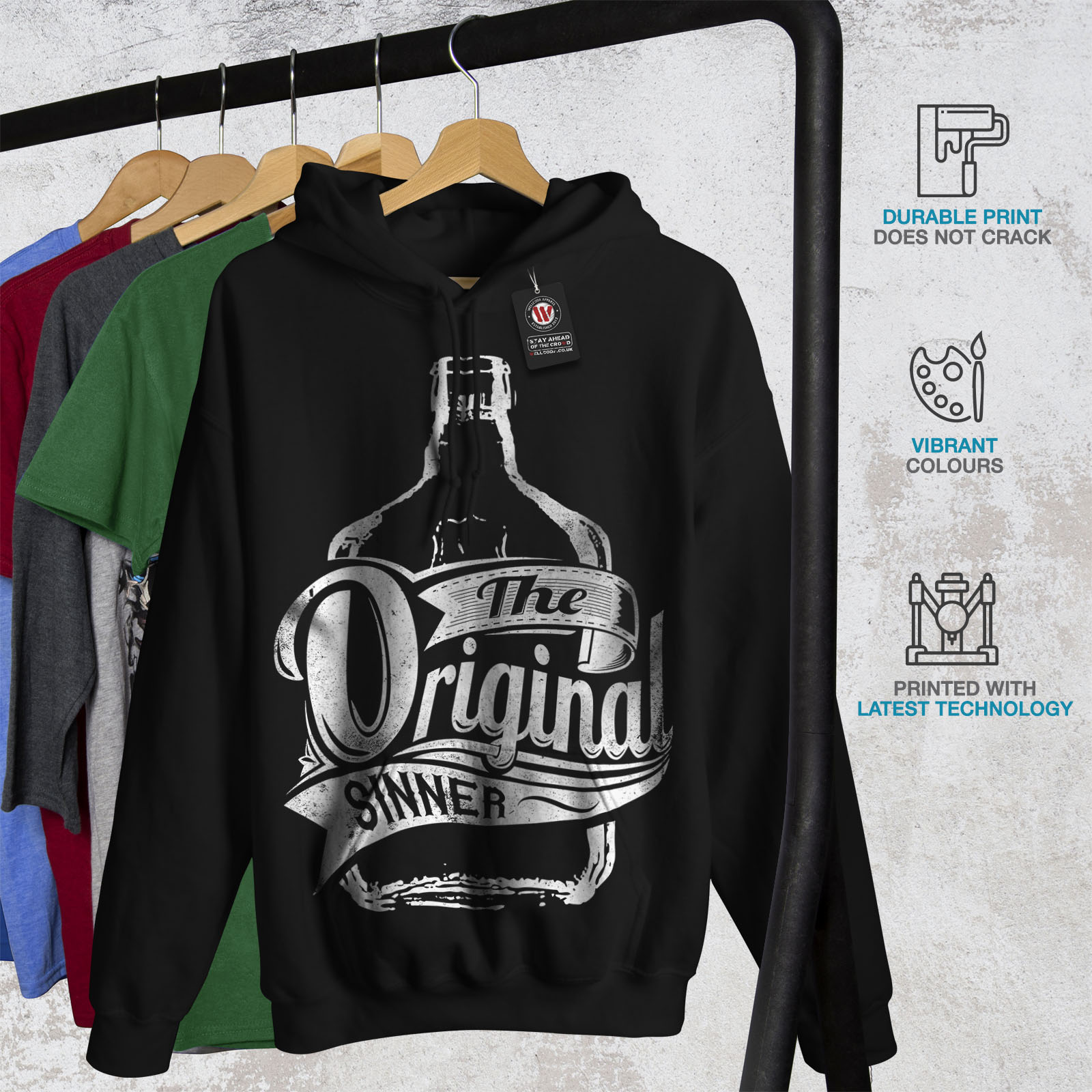 Wellcoda-Unique-Sinner-Funny-Mens-Hoodie-Rum-Casual-Hooded-Sweatshirt thumbnail 7