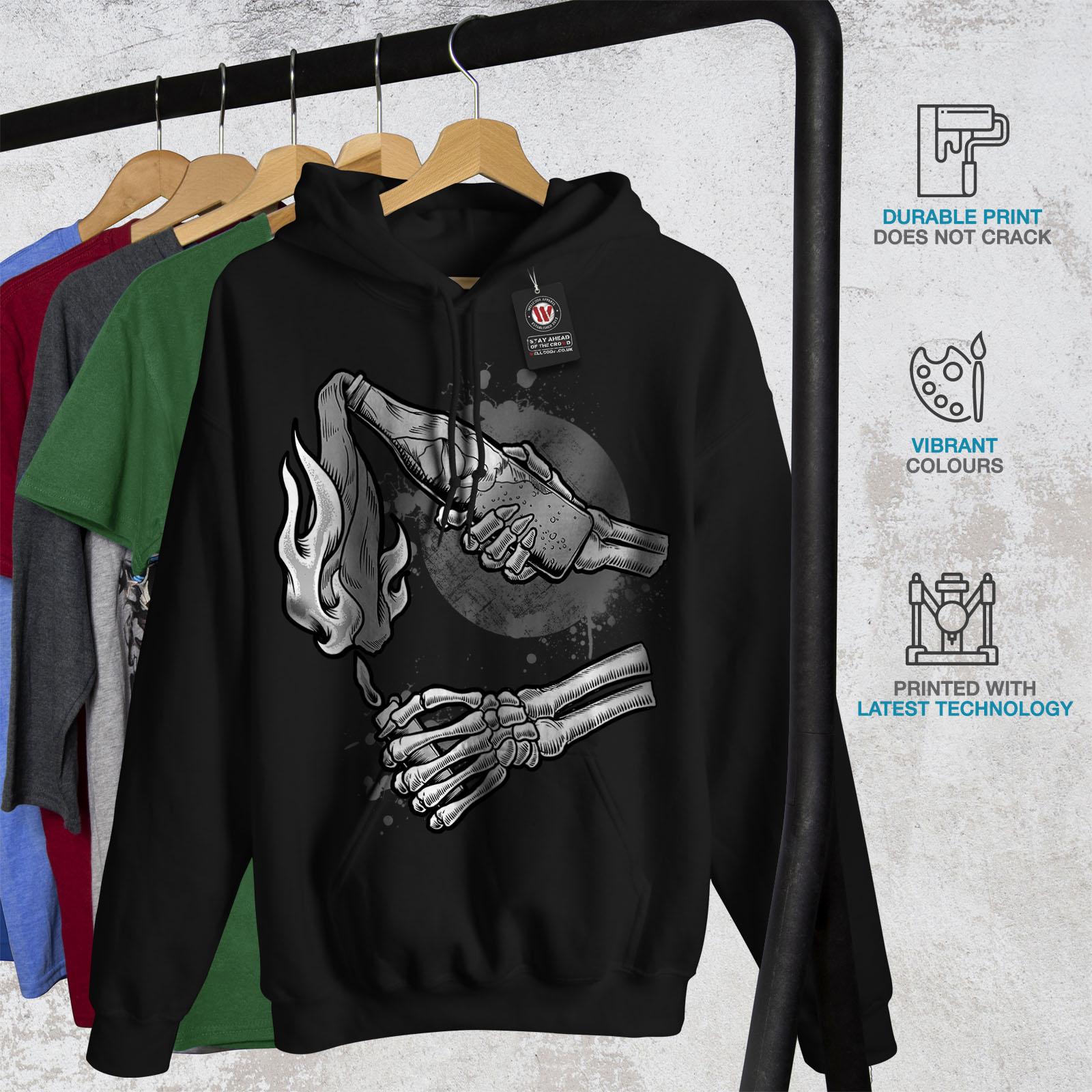 Black Mens Hoodie Sweatshirt New Hooded Casual Wellcoda Bad qRPxn0