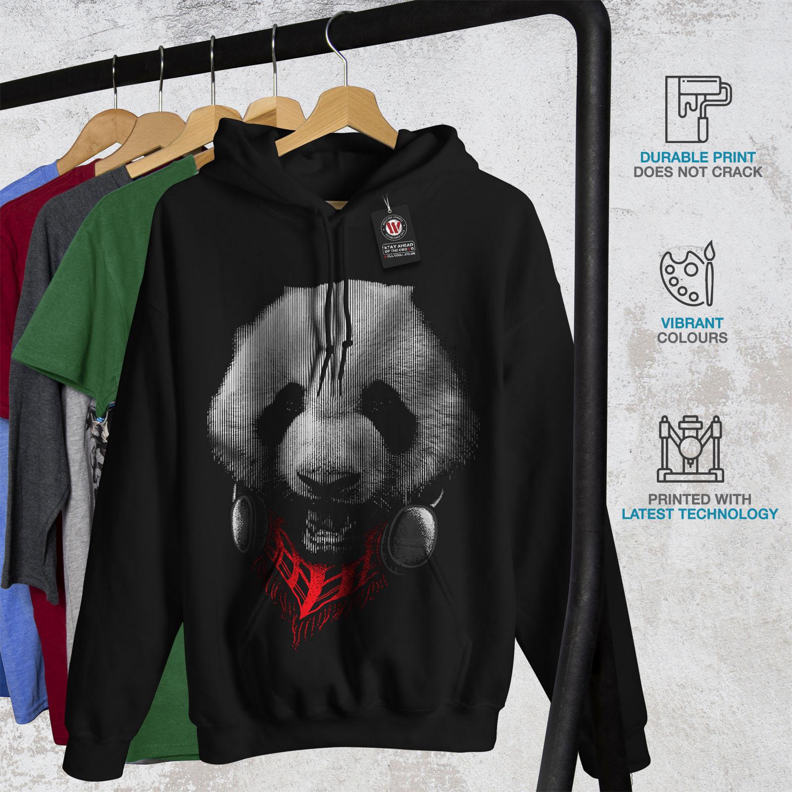 Wellcoda Panda With Headset Mens Hoodie Music Casual Hooded Sweatshirt