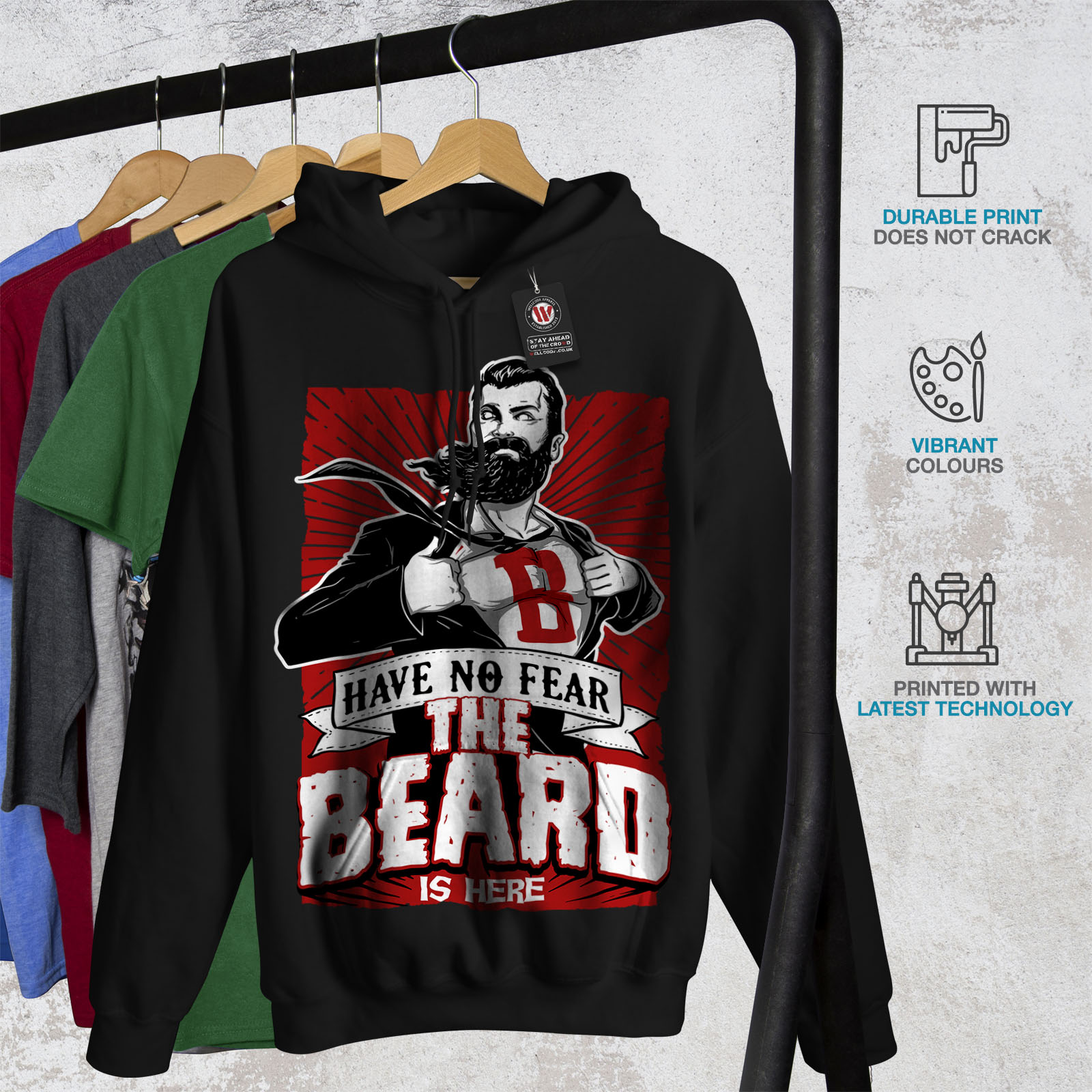 miniature 7 - Wellcoda The Beard Is Here Mens Hoodie, Have Casual Hooded Sweatshirt