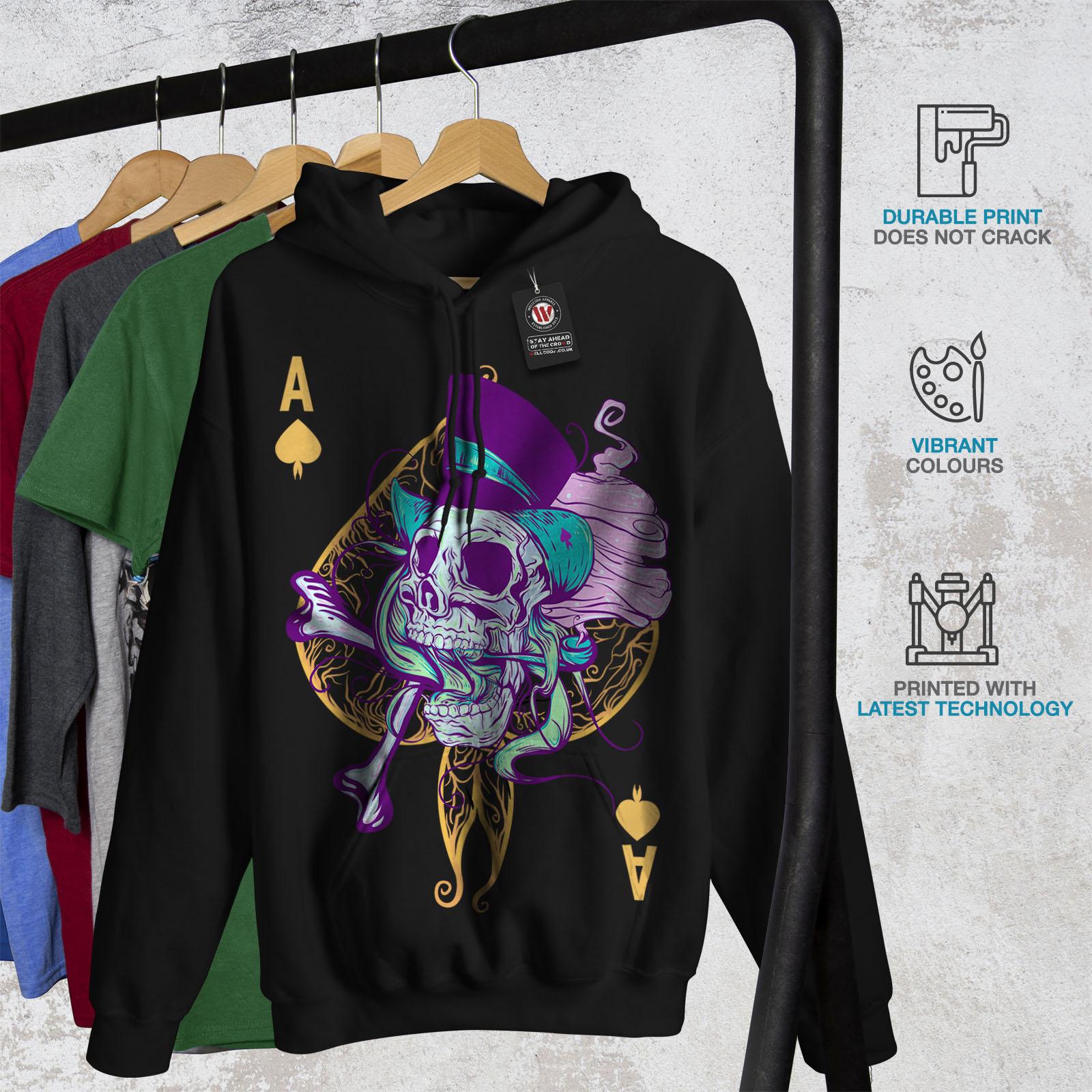 Wellcoda-Ace-Spade-Card-Skull-Mens-Hoodie-Casual-Hooded-Sweatshirt Indexbild 4