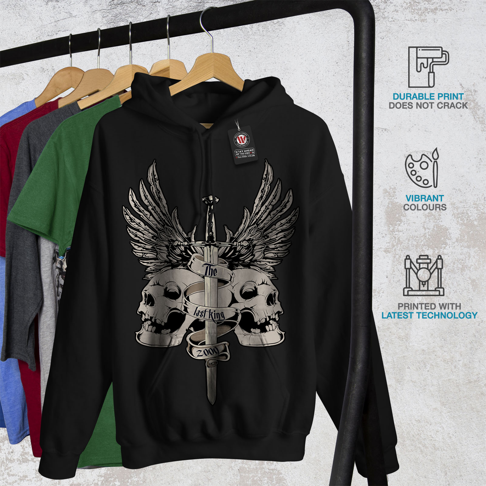 miniature 7 - Wellcoda The Last King Death Mens Hoodie, Skull Casual Hooded Sweatshirt