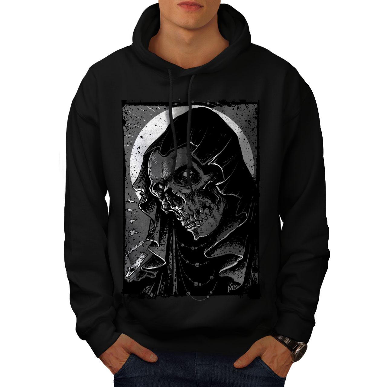 Wellcoda Grim Reaper Hell Skull Mens Hoodie Demon Casual Hooded Sweatshirt