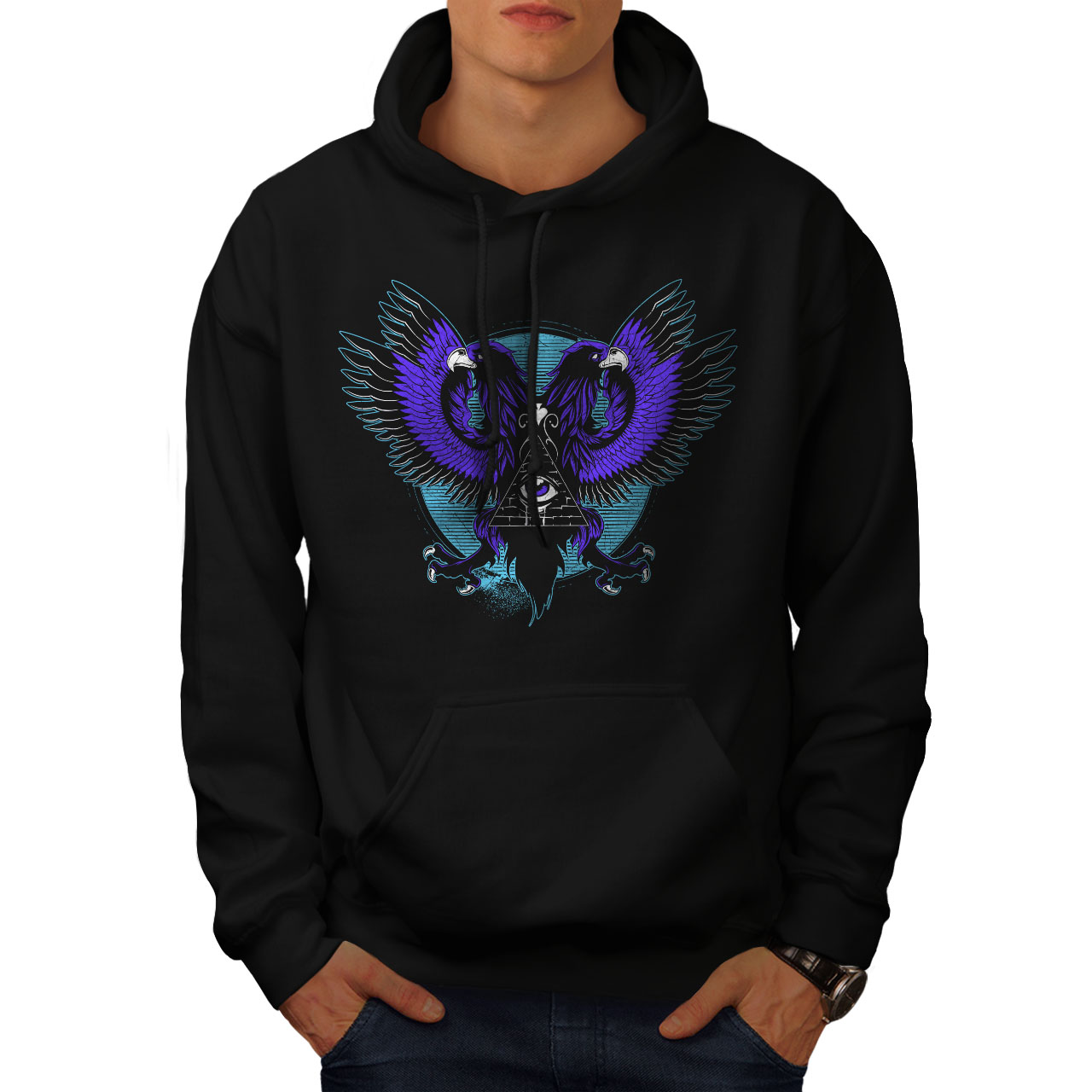 wellcoda Eagle Triangle Mens Sweatshirt Triangle Casual Jumper