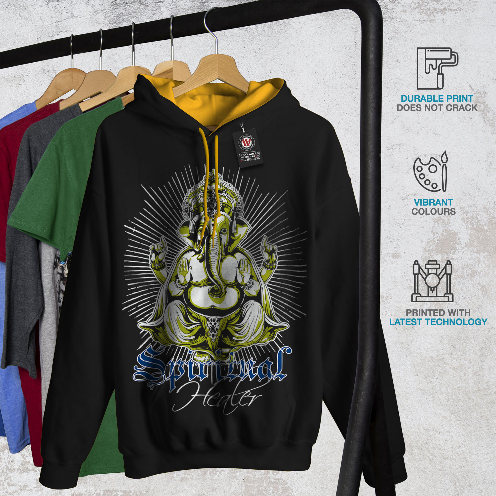 wellcoda Spiritual Healer God Mens Sweatshirt Ganesha Casual Jumper
