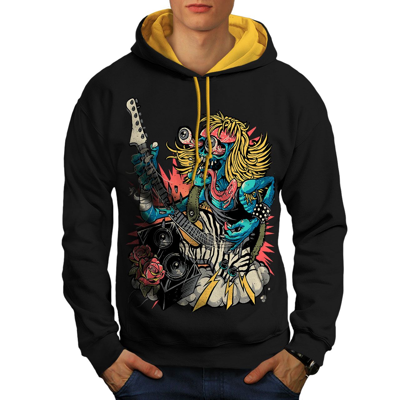 Instrument Music Guitar Men Contrast Hoodie NEWWellcoda