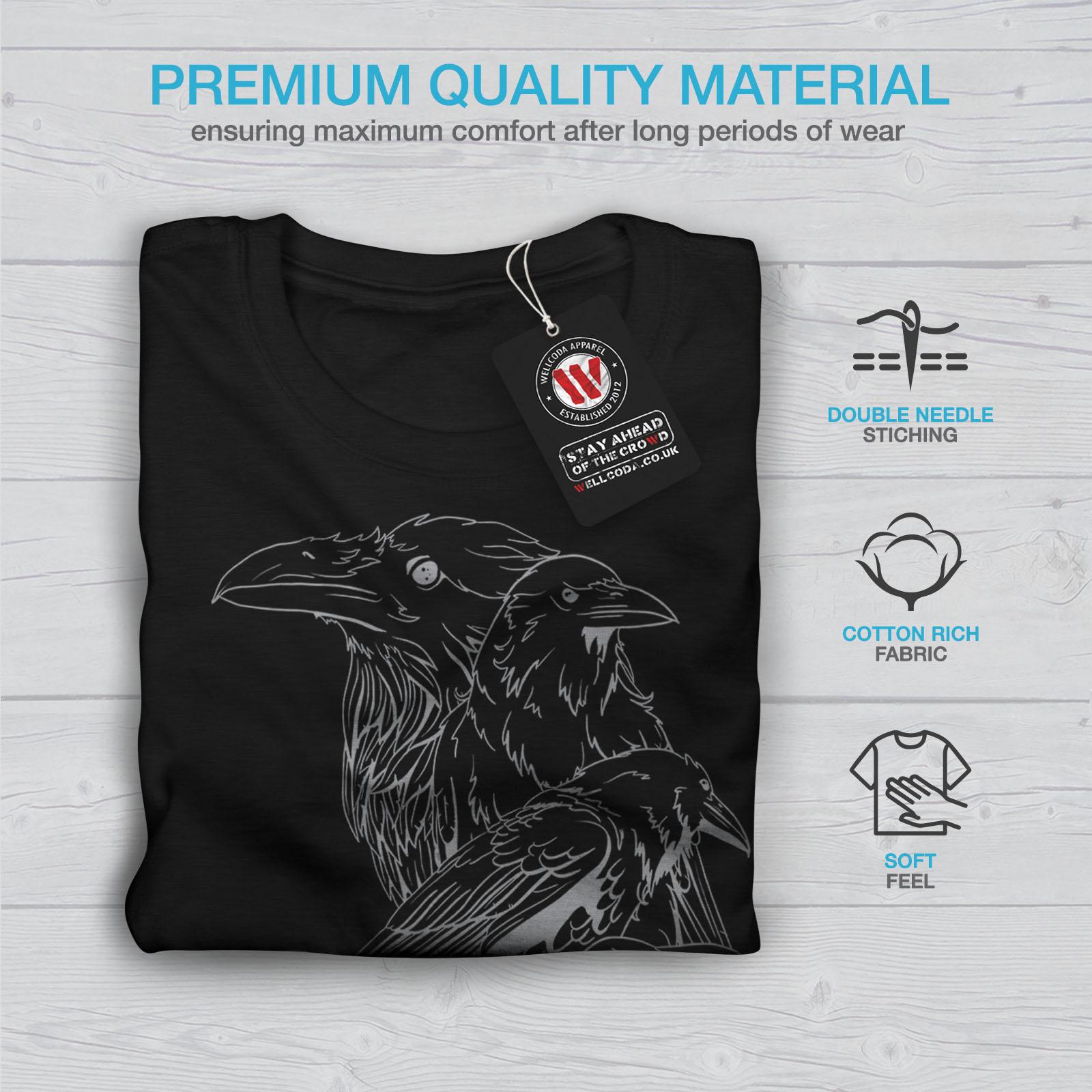 miniature 7 - Wellcoda Four Scary Raven Mens T-shirt, Crow Birds Graphic Design Printed Tee
