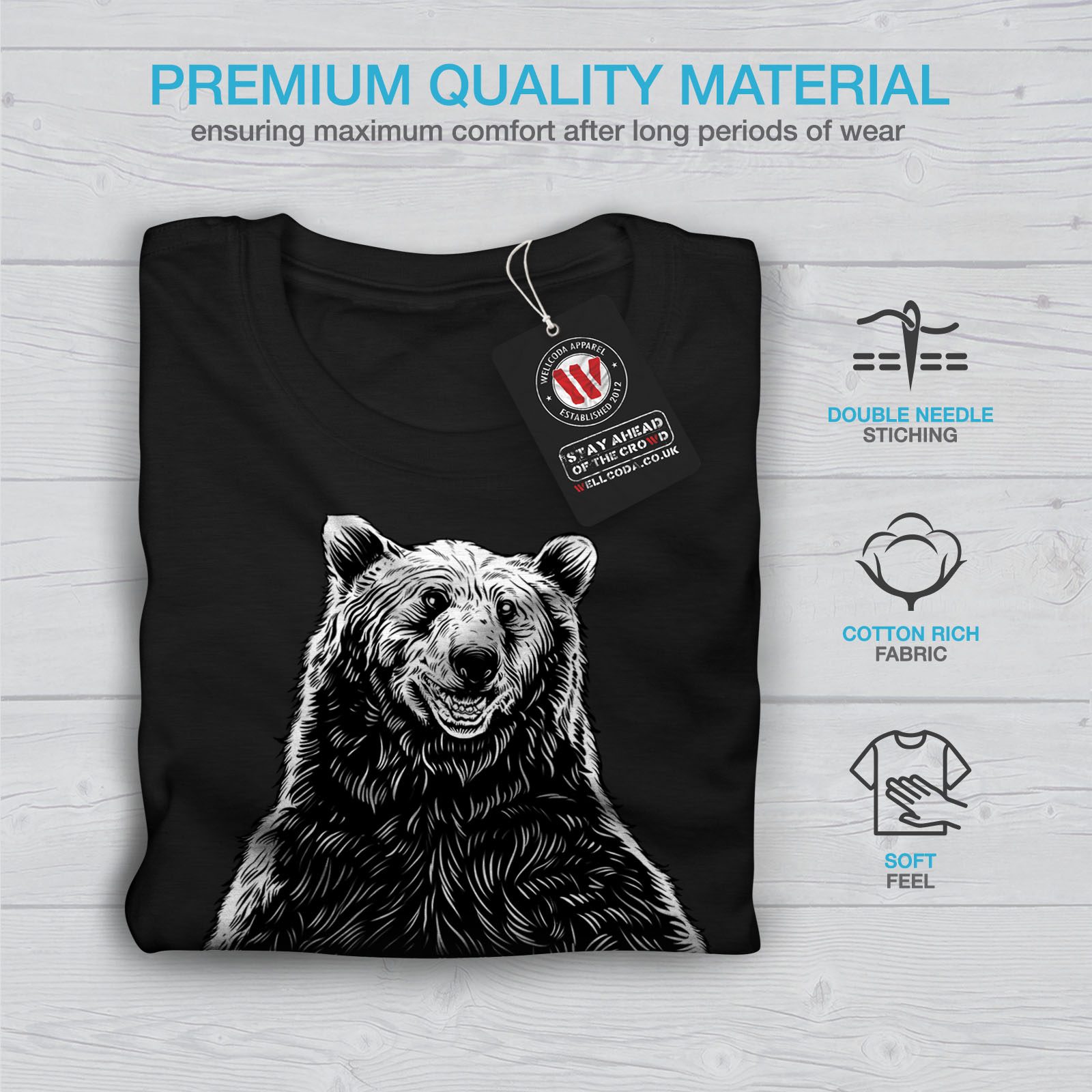 miniature 7 - Wellcoda Fishing Bear Angler Mens T-shirt, Grizzly Graphic Design Printed Tee