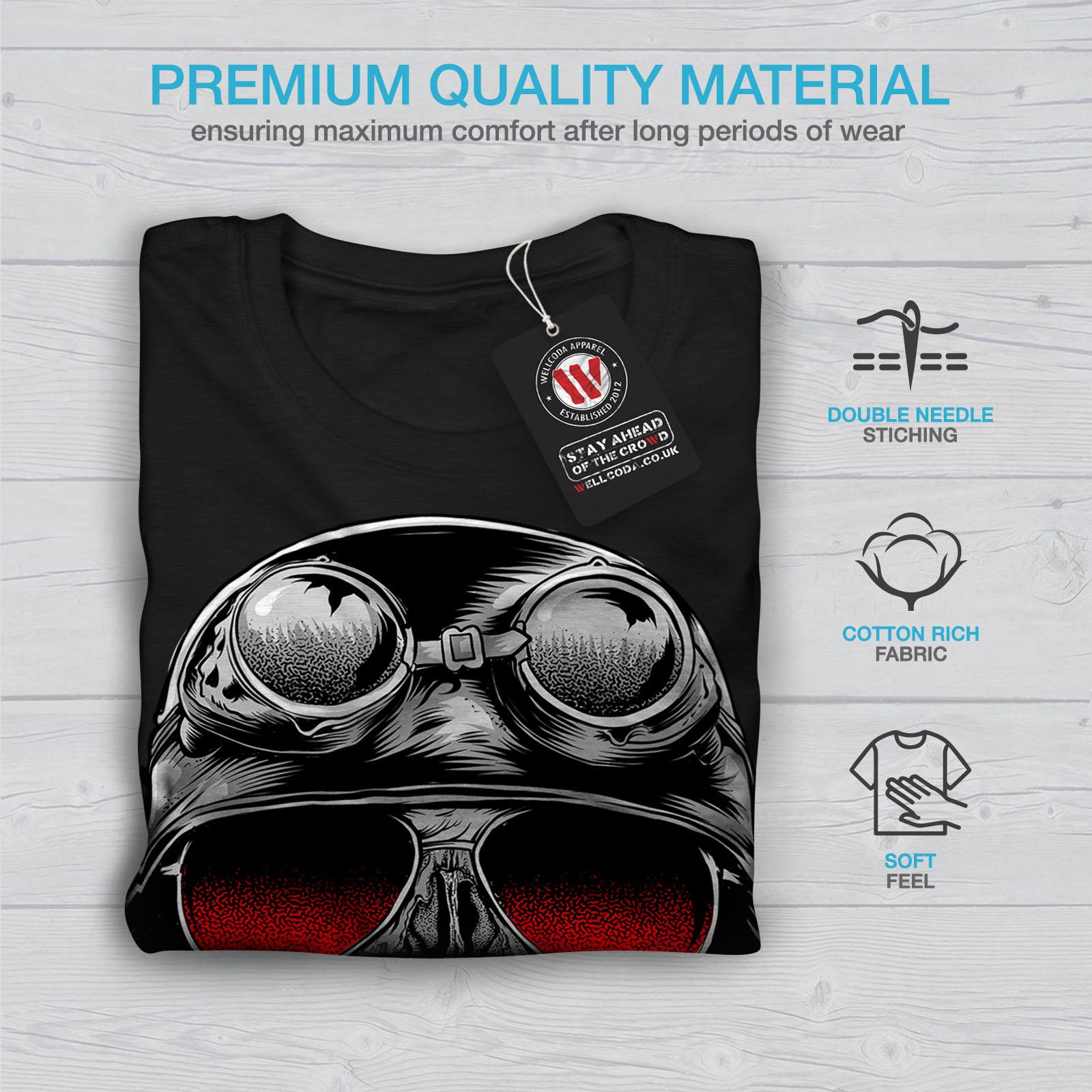 Crazy design grafico stampato T-shirt Wellcoda Teschio Barba Hippie Da Uomo T-shirt