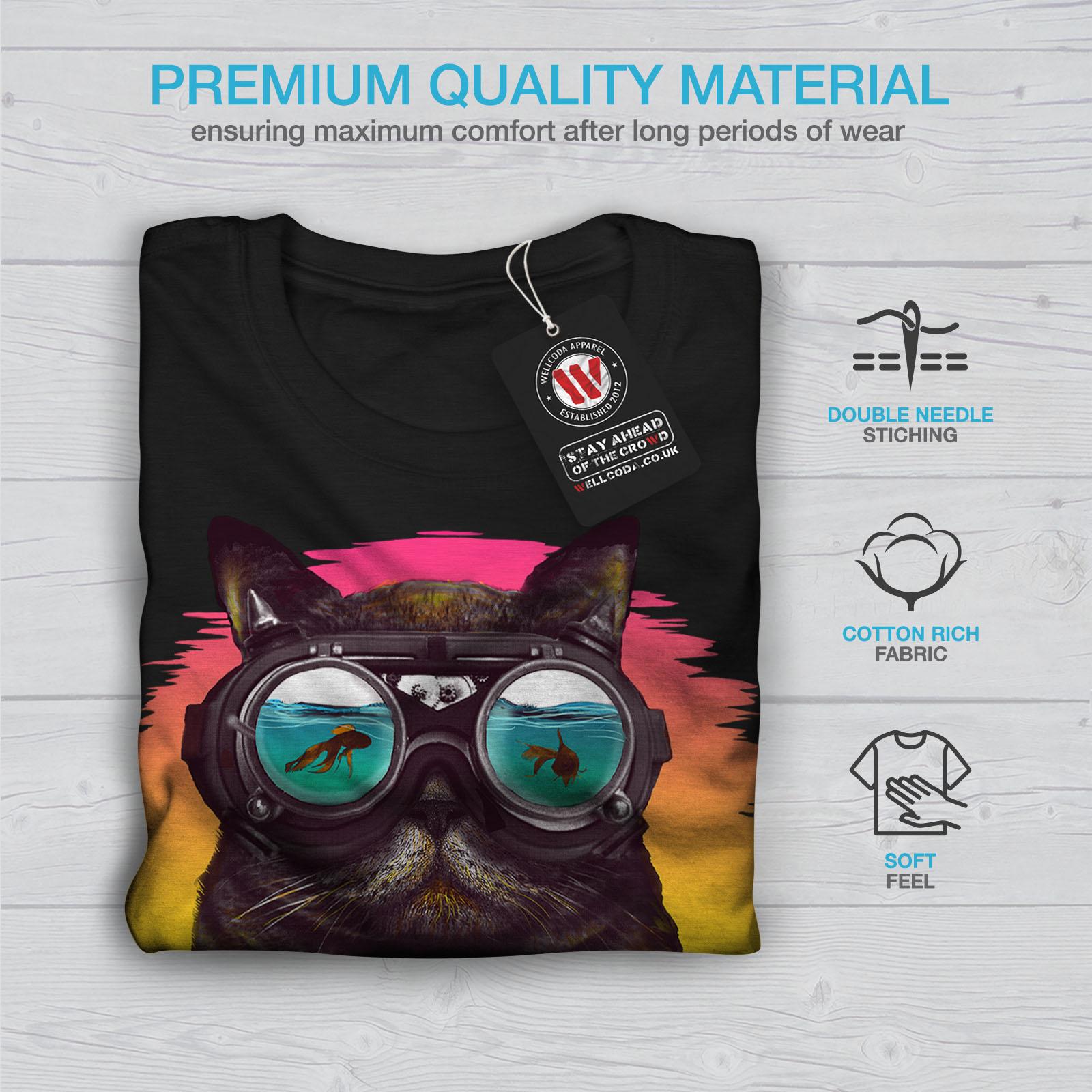 Wellcoda-Hippie-Glasses-Cool-Cat-Mens-T-shirt-Fish-Graphic-Design-Printed-Tee thumbnail 7