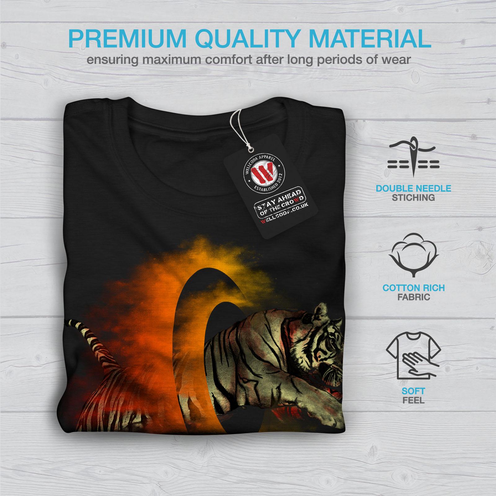 Wellcoda-Tiger-Portal-Cool-Mens-T-shirt-Flame-Graphic-Design-Printed-Tee thumbnail 7