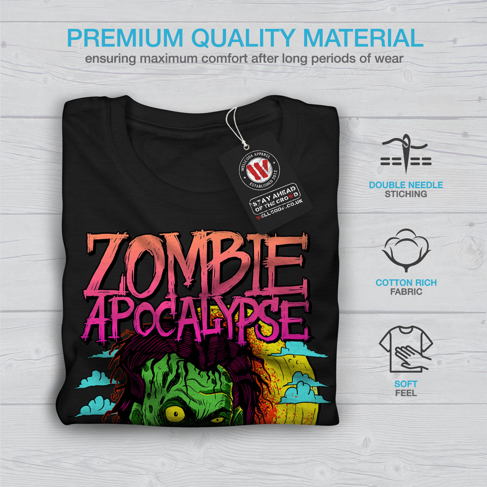 Wellcoda-Zombie-Apocalypse-Horror-Mens-T-shirt-Graphic-Design-Printed-Tee thumbnail 7