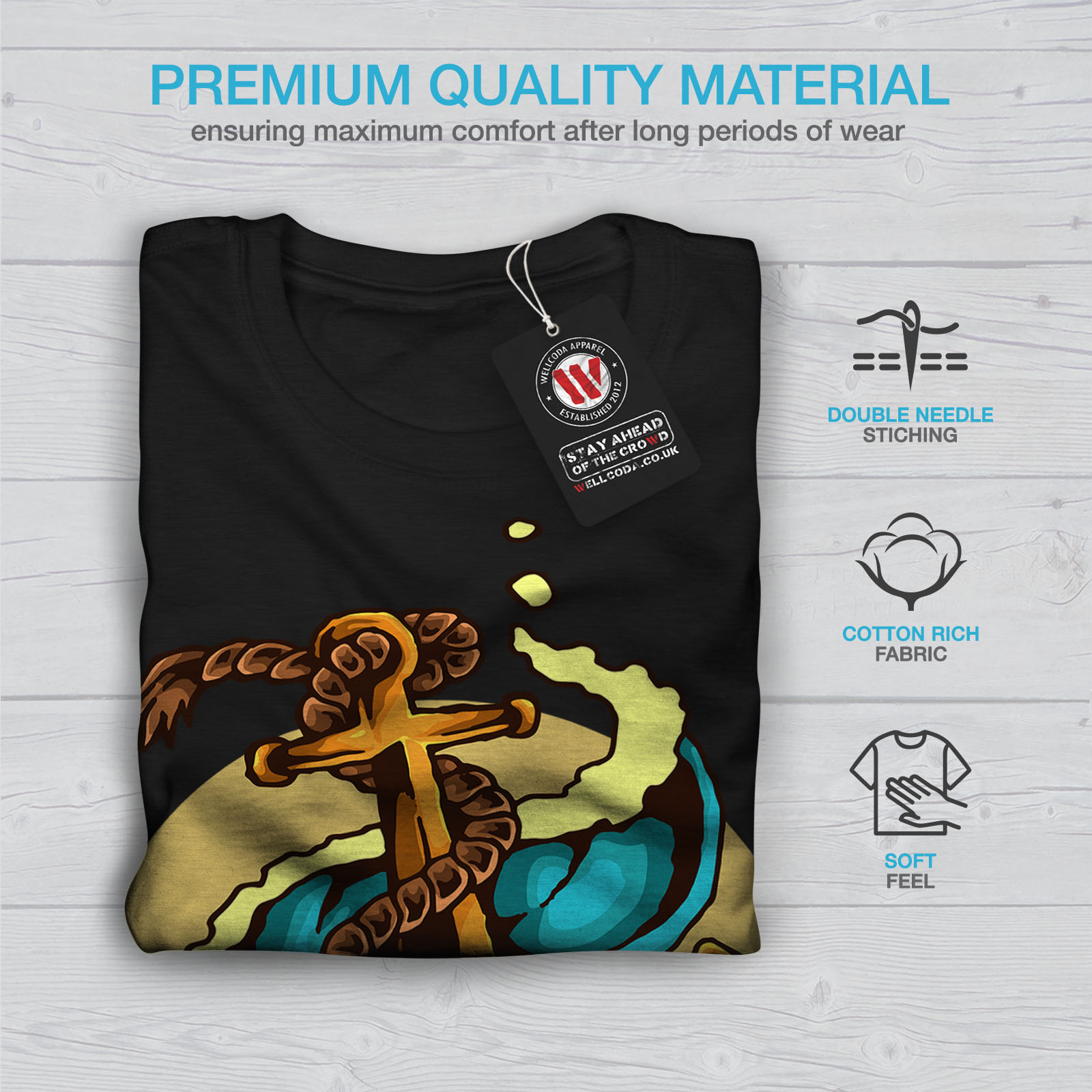 0 Graphic Design Stampato Tee Wellcoda mare marino anchor Moda Da Uomo T-shirt