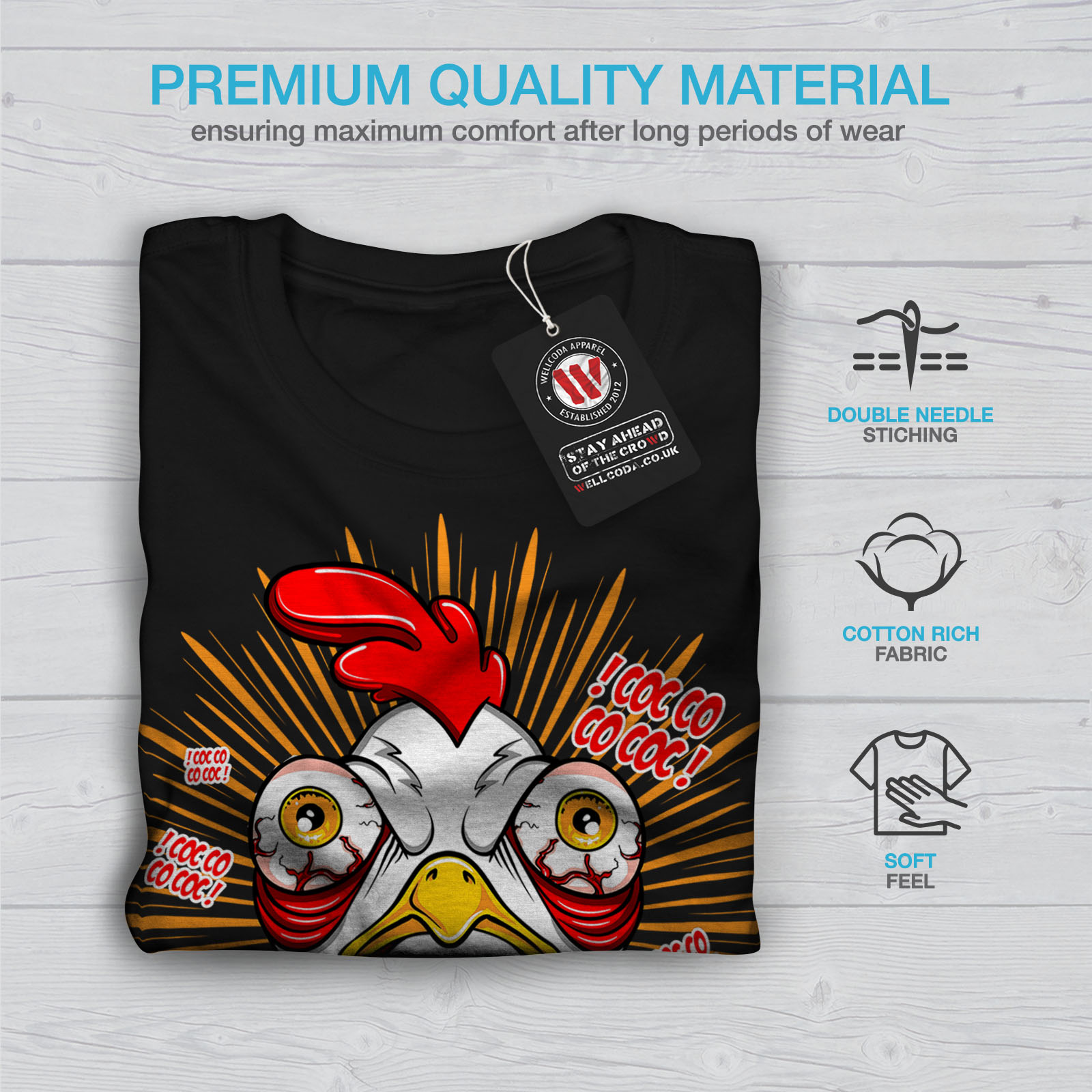 thumbnail 7 - Wellcoda-Crazy-Chicken-Mens-T-shirt-Funny-Face-Graphic-Design-Printed-Tee