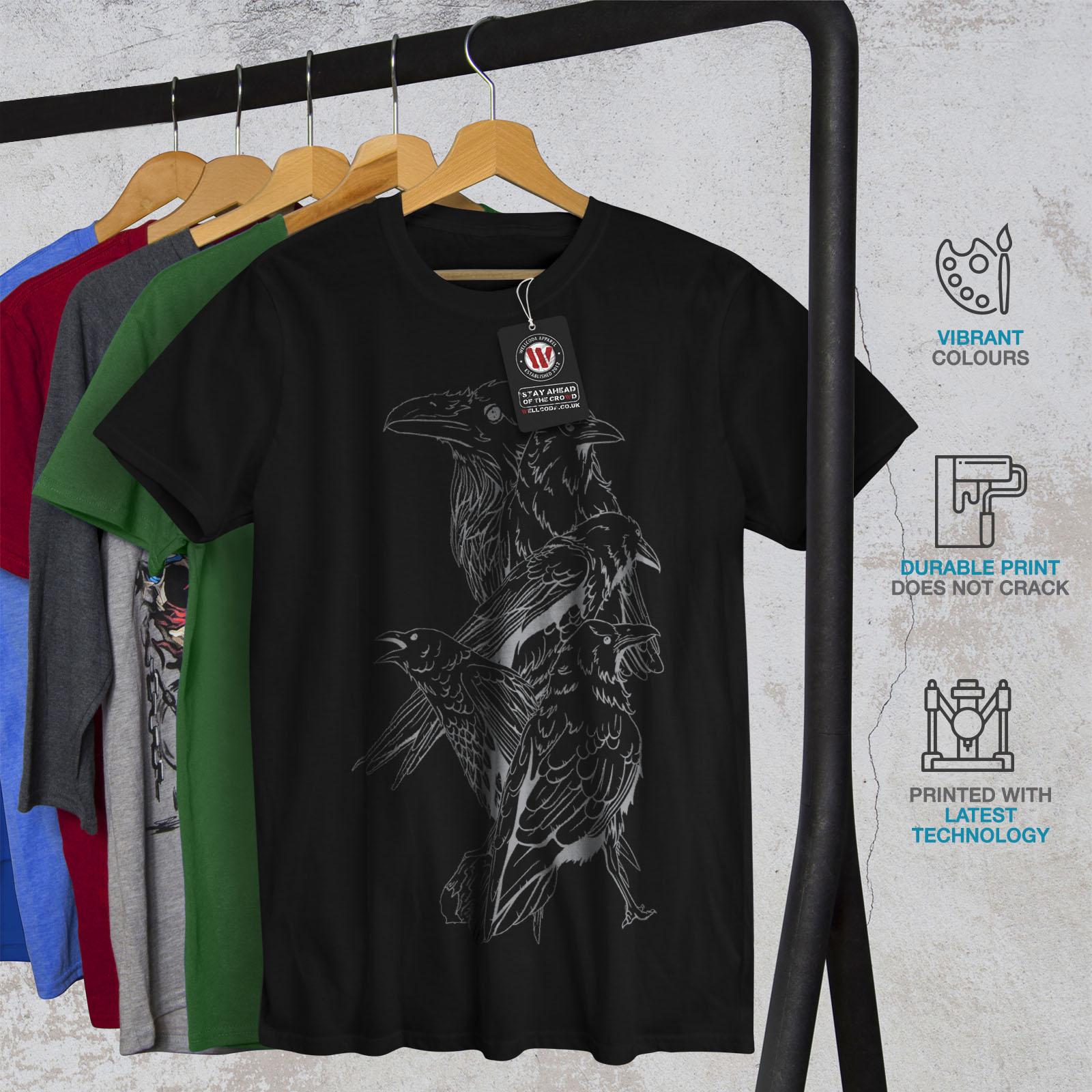miniature 6 - Wellcoda Four Scary Raven Mens T-shirt, Crow Birds Graphic Design Printed Tee