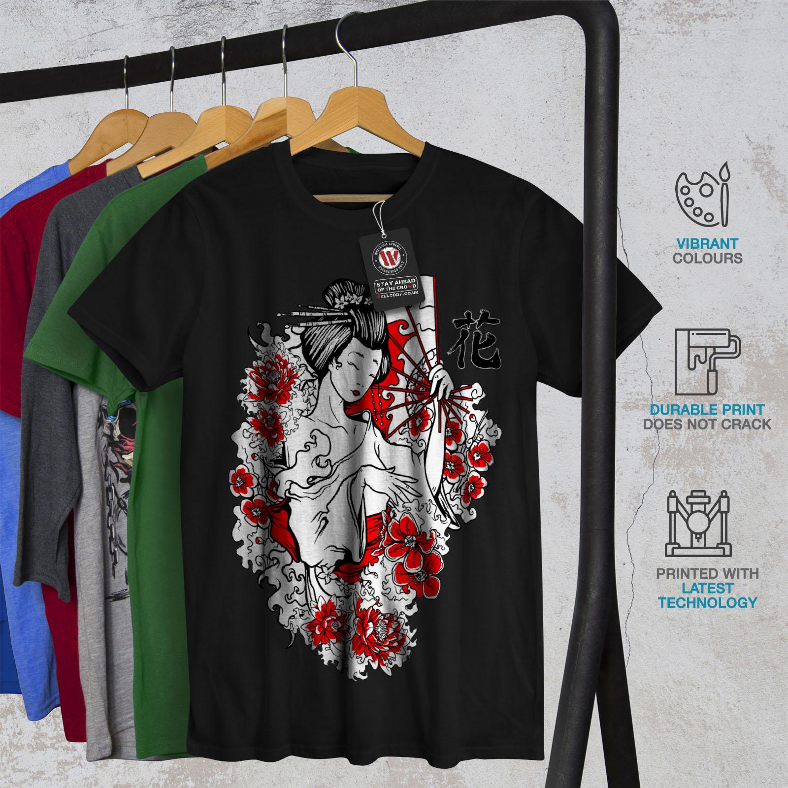 Wellcoda Girl Flower Power Mens T-shirt Japan Graphic Design Printed Tee