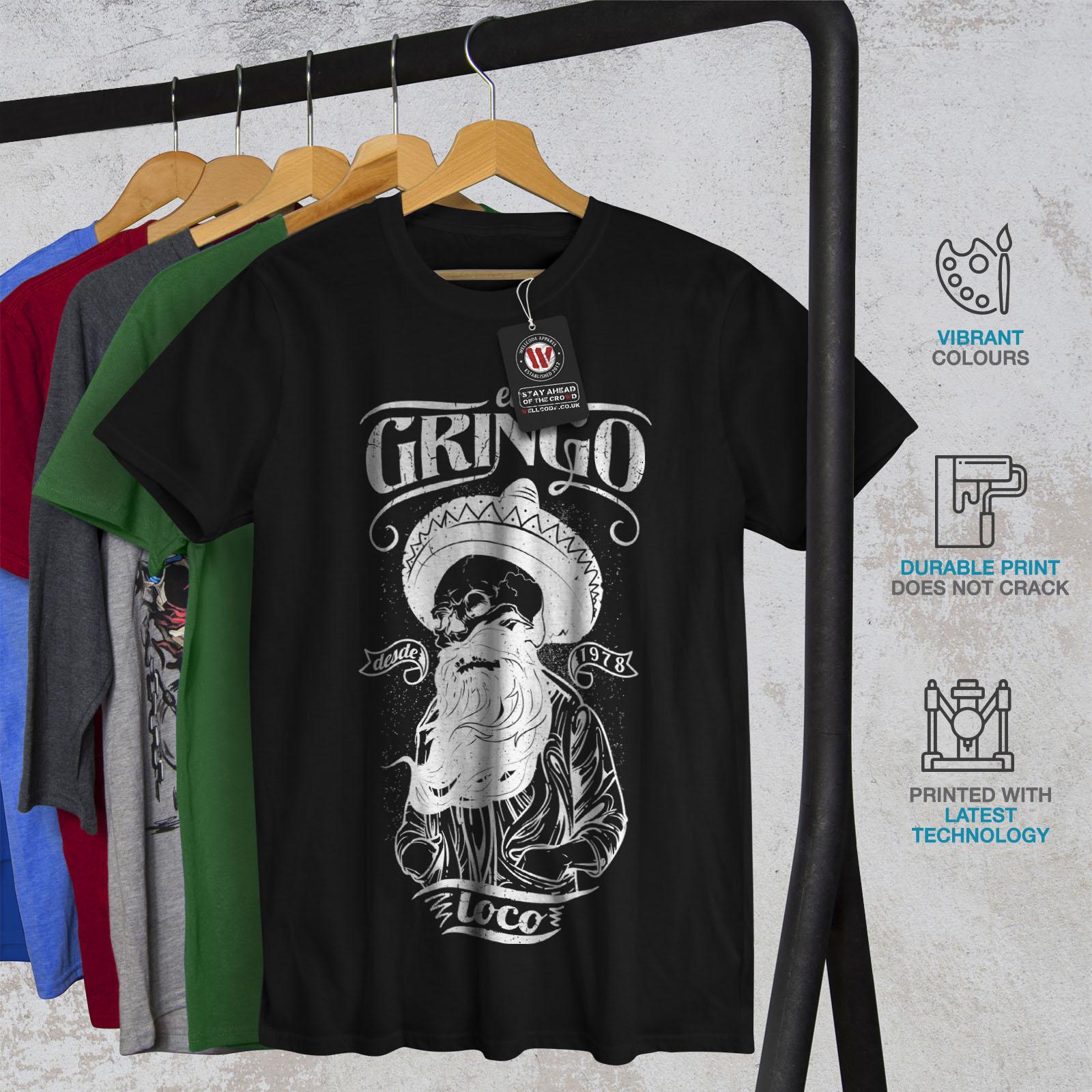 Wellcoda-Gringo-Beard-Skull-Mens-T-shirt-Mexico-Graphic-Design-Printed-Tee thumbnail 6