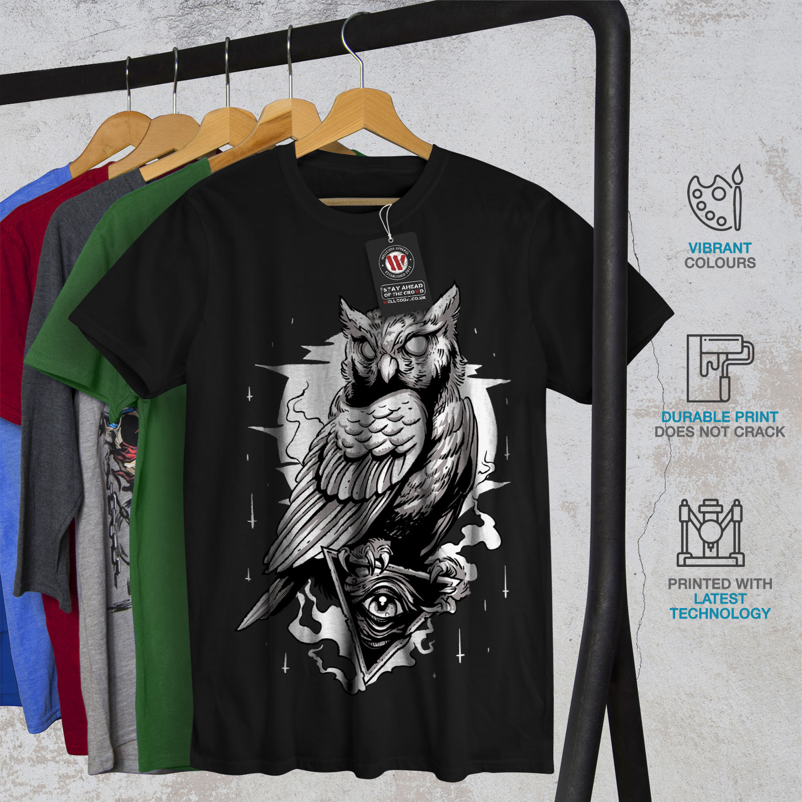 miniature 6 - Wellcoda Triangle Owl Mens T-shirt, Conspiracy Graphic Design Printed Tee