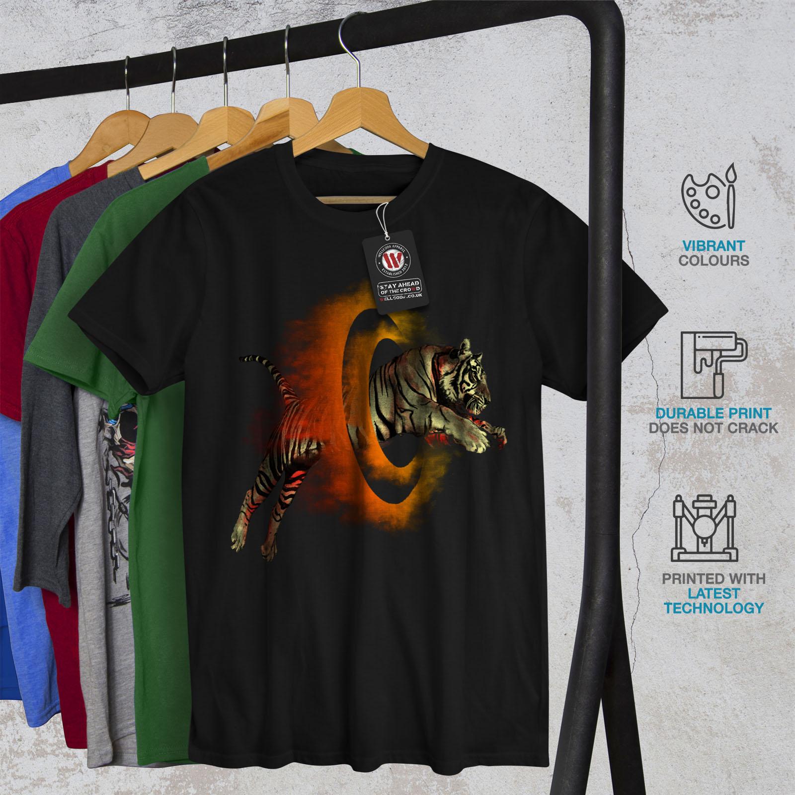 Wellcoda-Tiger-Portal-Cool-Mens-T-shirt-Flame-Graphic-Design-Printed-Tee thumbnail 6