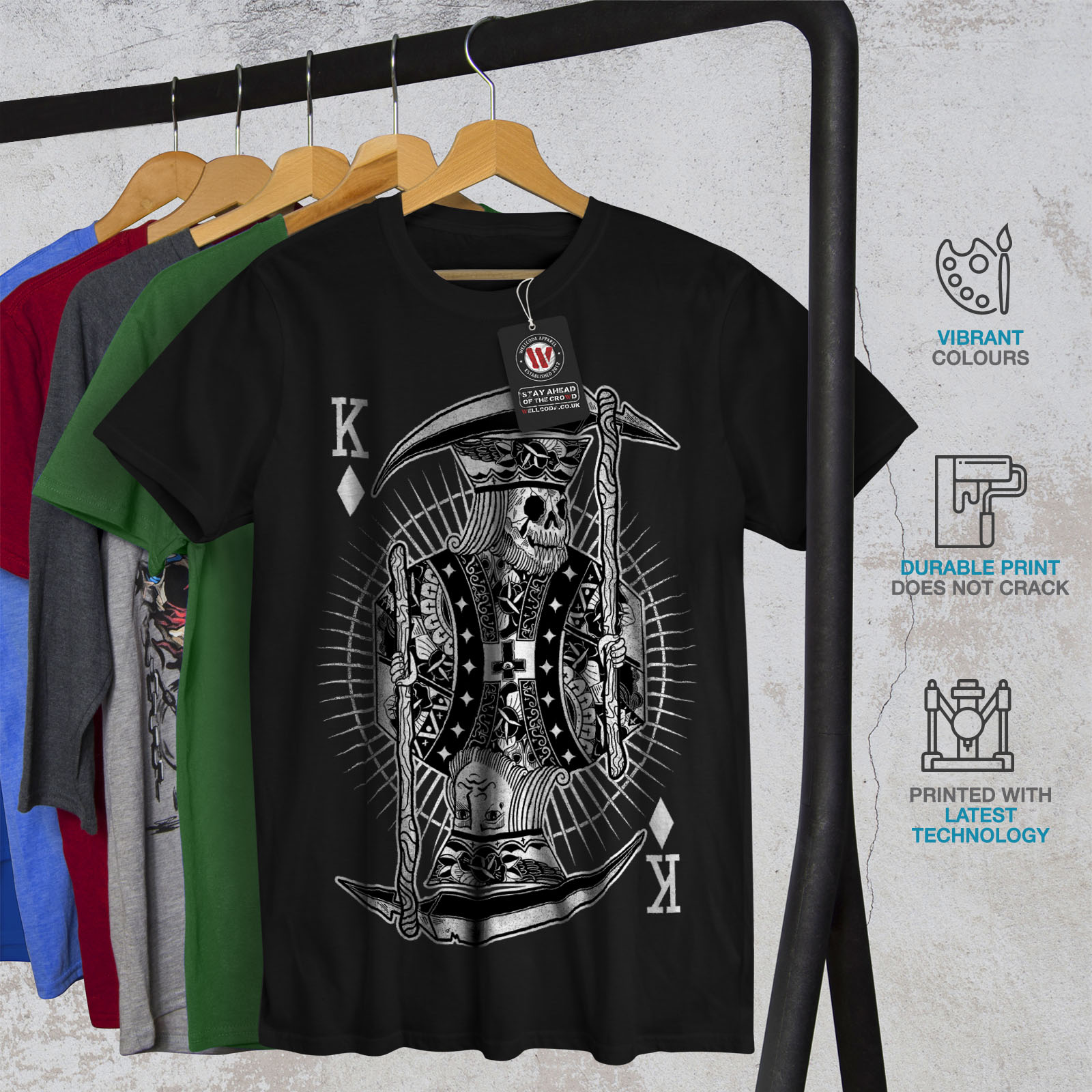 Wellcoda-Poker-Horror-King-Skull-Mens-T-shirt-Graphic-Design-Printed-Tee thumbnail 6