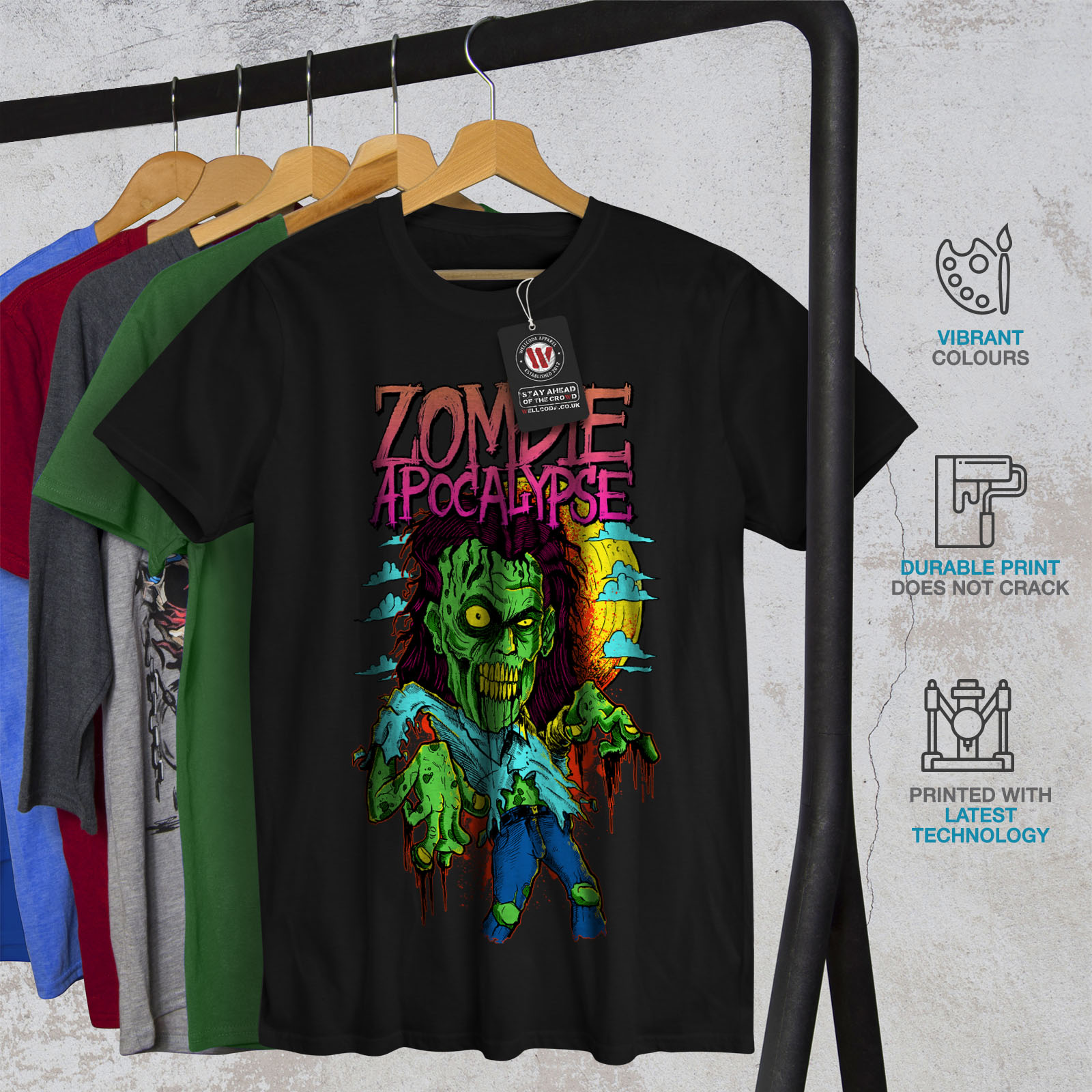 Wellcoda-Zombie-Apocalypse-Horror-Mens-T-shirt-Graphic-Design-Printed-Tee thumbnail 6