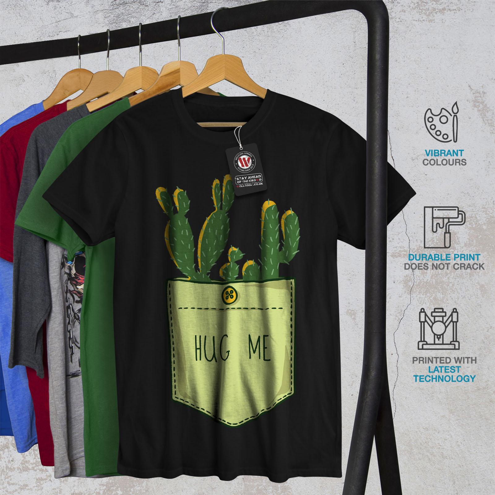 miniature 6 - Wellcoda Hug Me Cactus Funny Mens T-shirt,  Graphic Design Printed Tee