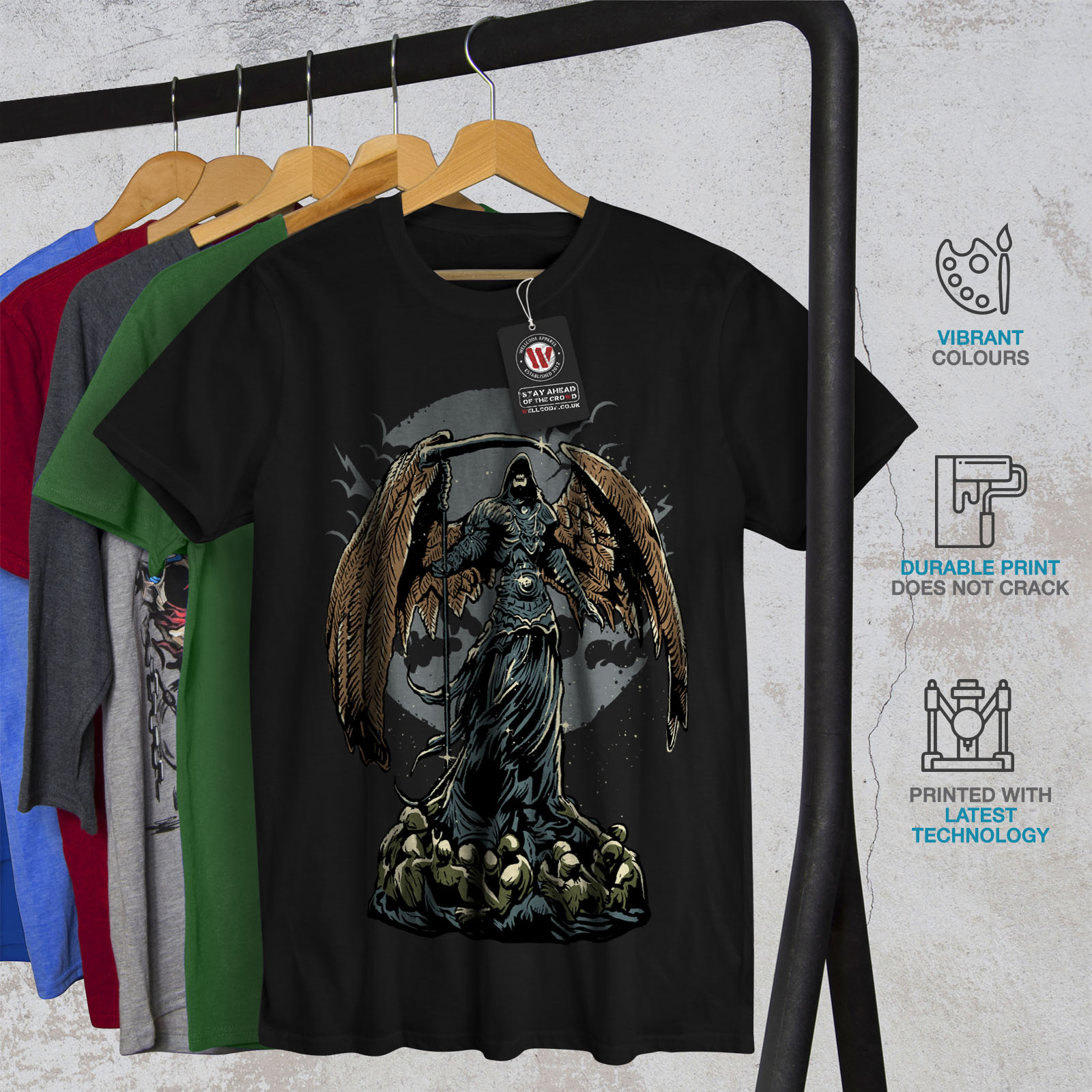 Wellcoda-Evil-Grim-Reaper-Mens-T-shirt-Horror-Graphic-Design-Printed-Tee thumbnail 6