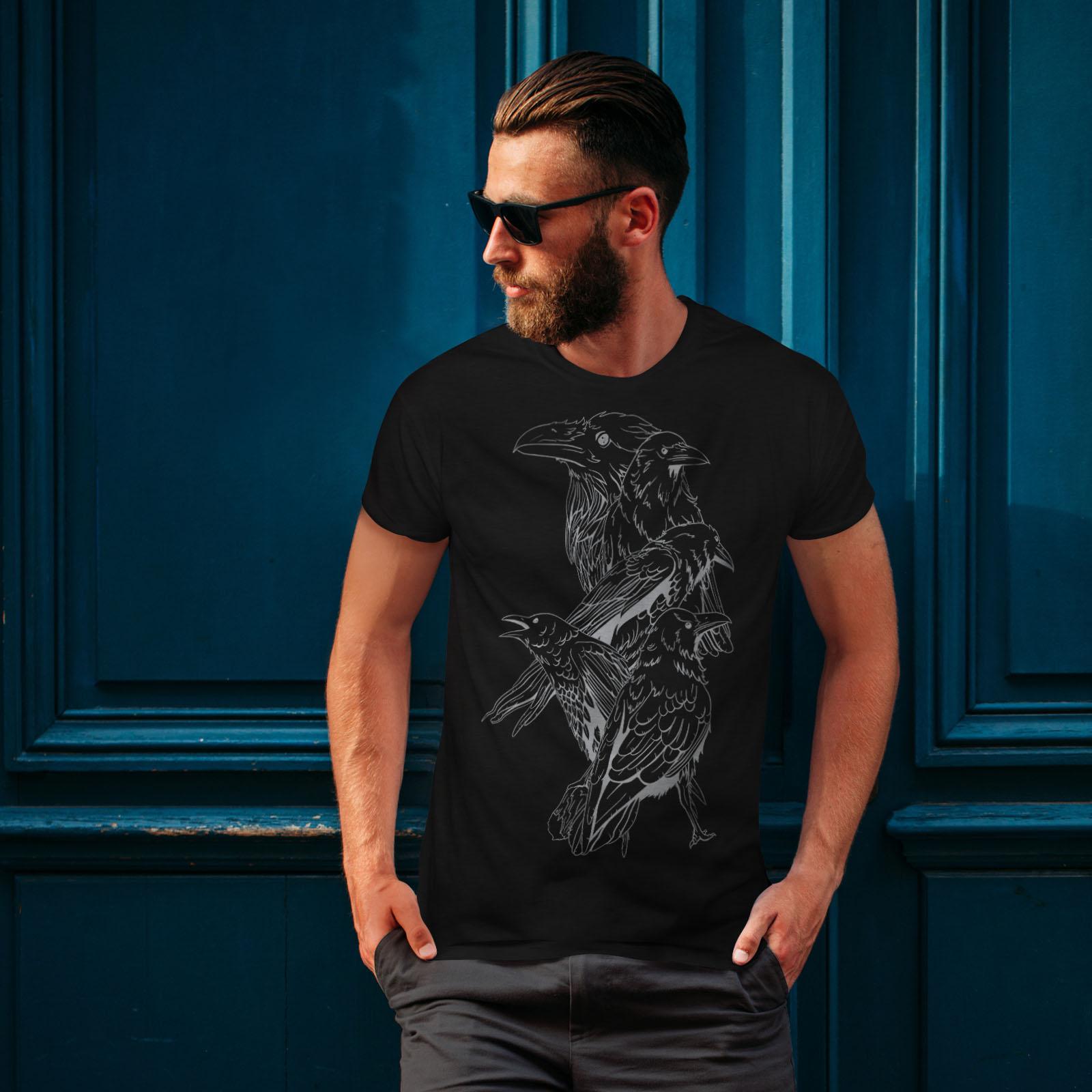 miniature 4 - Wellcoda Four Scary Raven Mens T-shirt, Crow Birds Graphic Design Printed Tee