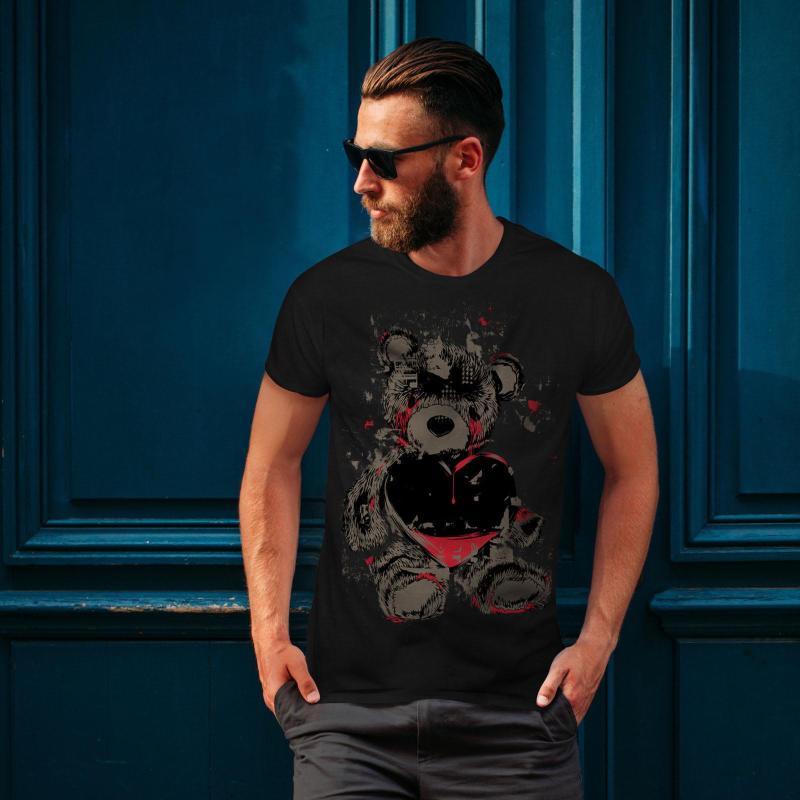 miniature 4 - Wellcoda Teddy Bear Love Hurt Mens T-shirt, Blood Graphic Design Printed Tee