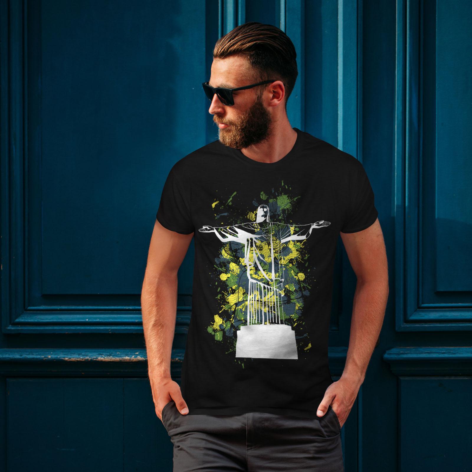 Rio Graphic Design Printed Tee Wellcoda Christ Redeemer Brazil Mens T-shirt