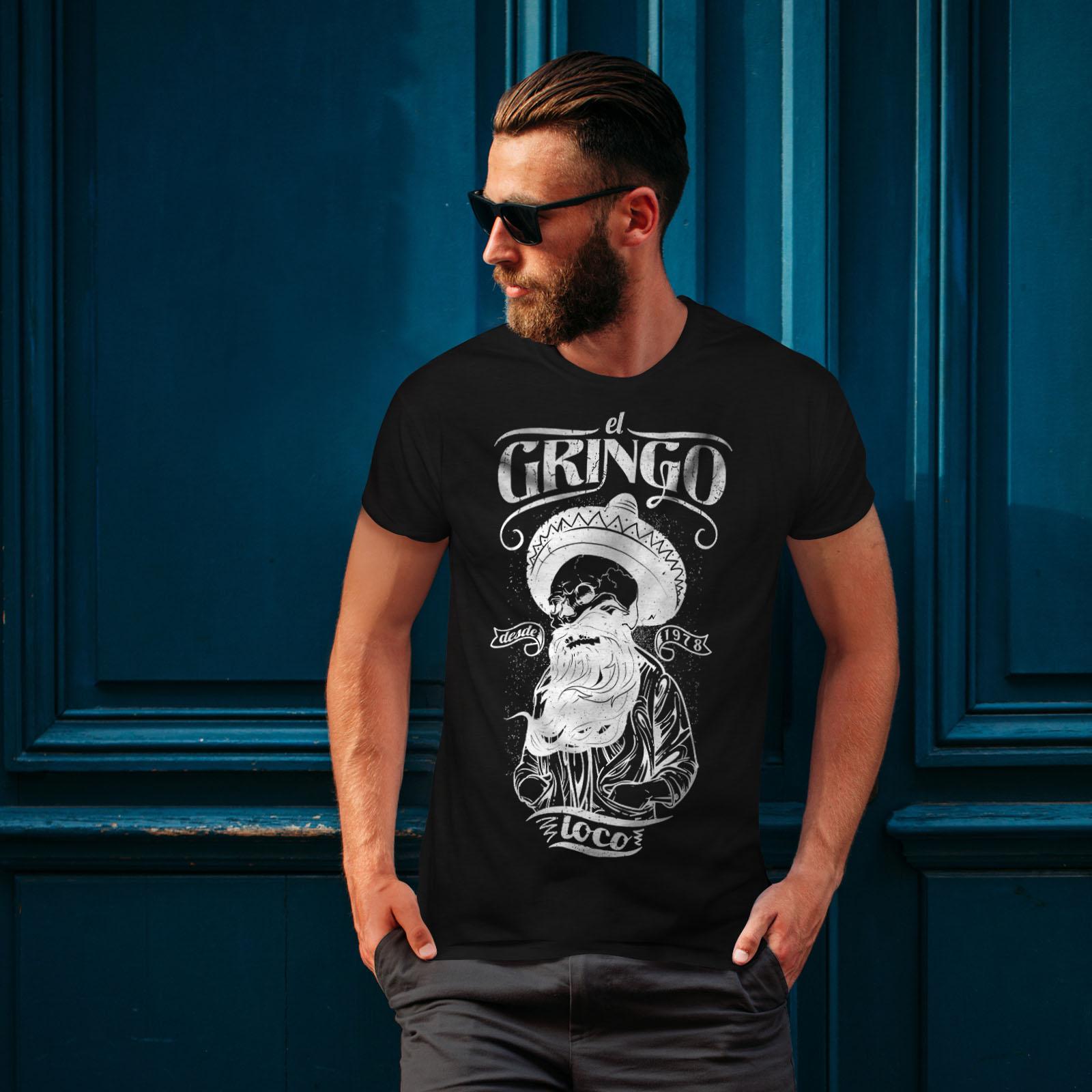 Wellcoda-Gringo-Beard-Skull-Mens-T-shirt-Mexico-Graphic-Design-Printed-Tee thumbnail 4