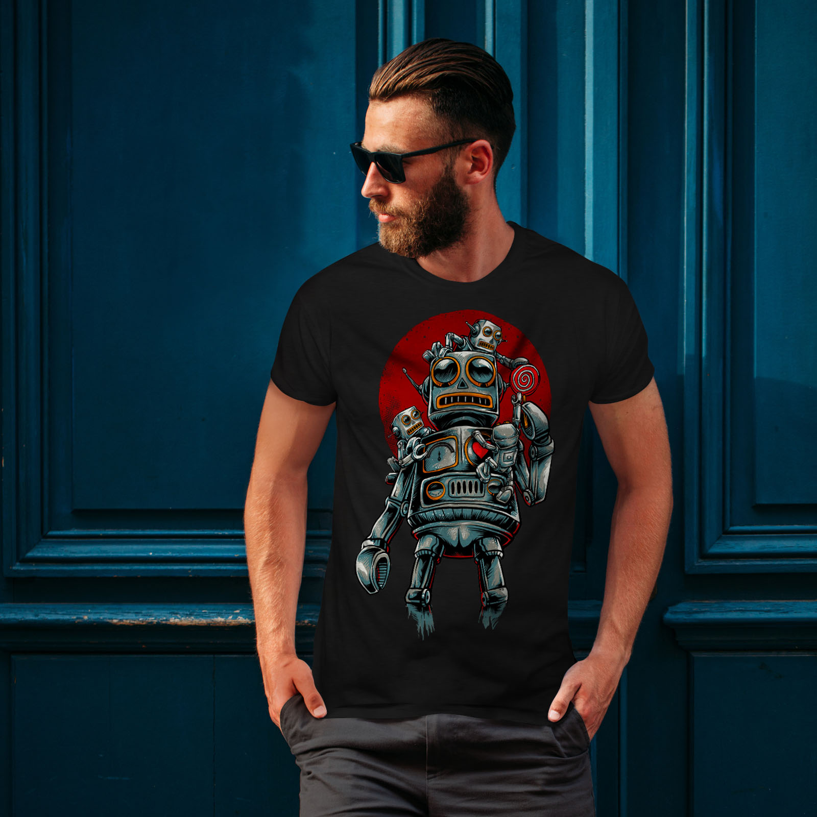 miniature 4 - Wellcoda Crazy Robot Mens T-shirt, Mechanical Graphic Design Printed Tee