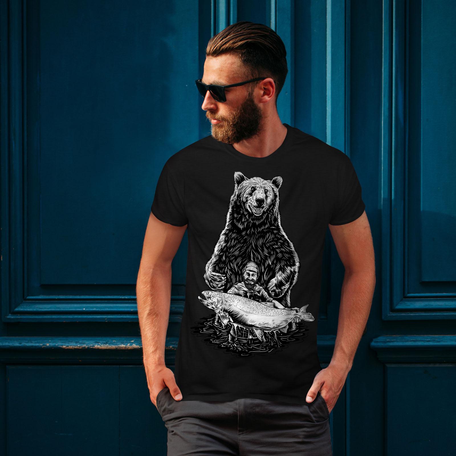 miniature 4 - Wellcoda Fishing Bear Angler Mens T-shirt, Grizzly Graphic Design Printed Tee