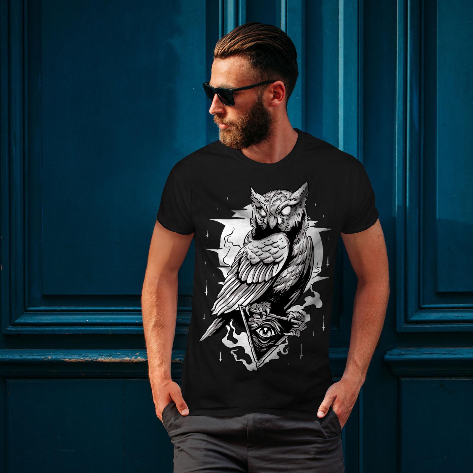 miniature 4 - Wellcoda Triangle Owl Mens T-shirt, Conspiracy Graphic Design Printed Tee