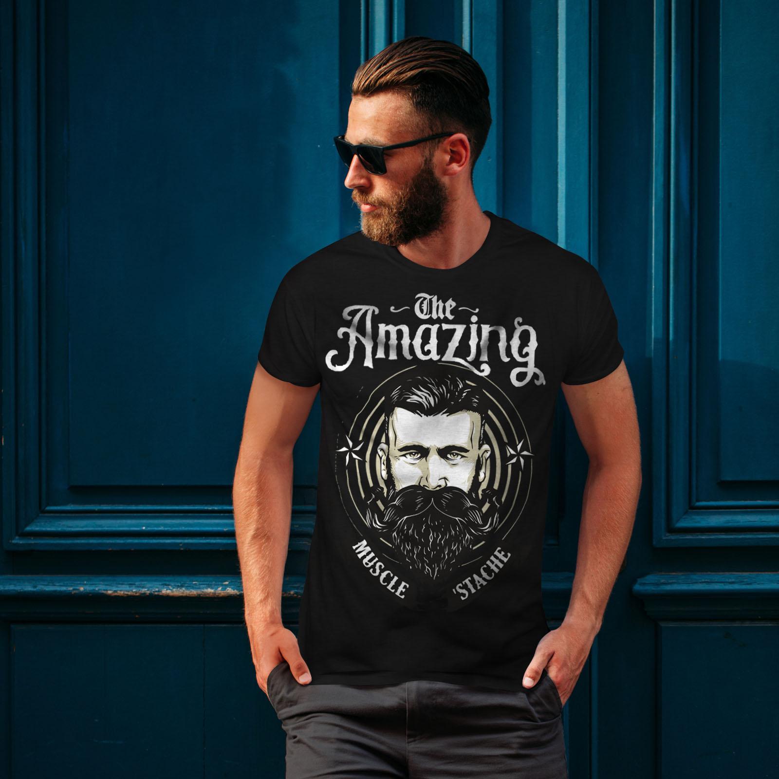 Wellcoda Amazing Beard Vintage Mens T-shirt Facial Graphic Design Printed Tee