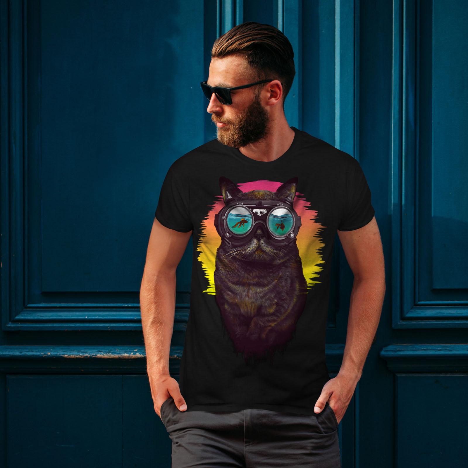 Wellcoda-Hippie-Glasses-Cool-Cat-Mens-T-shirt-Fish-Graphic-Design-Printed-Tee thumbnail 4