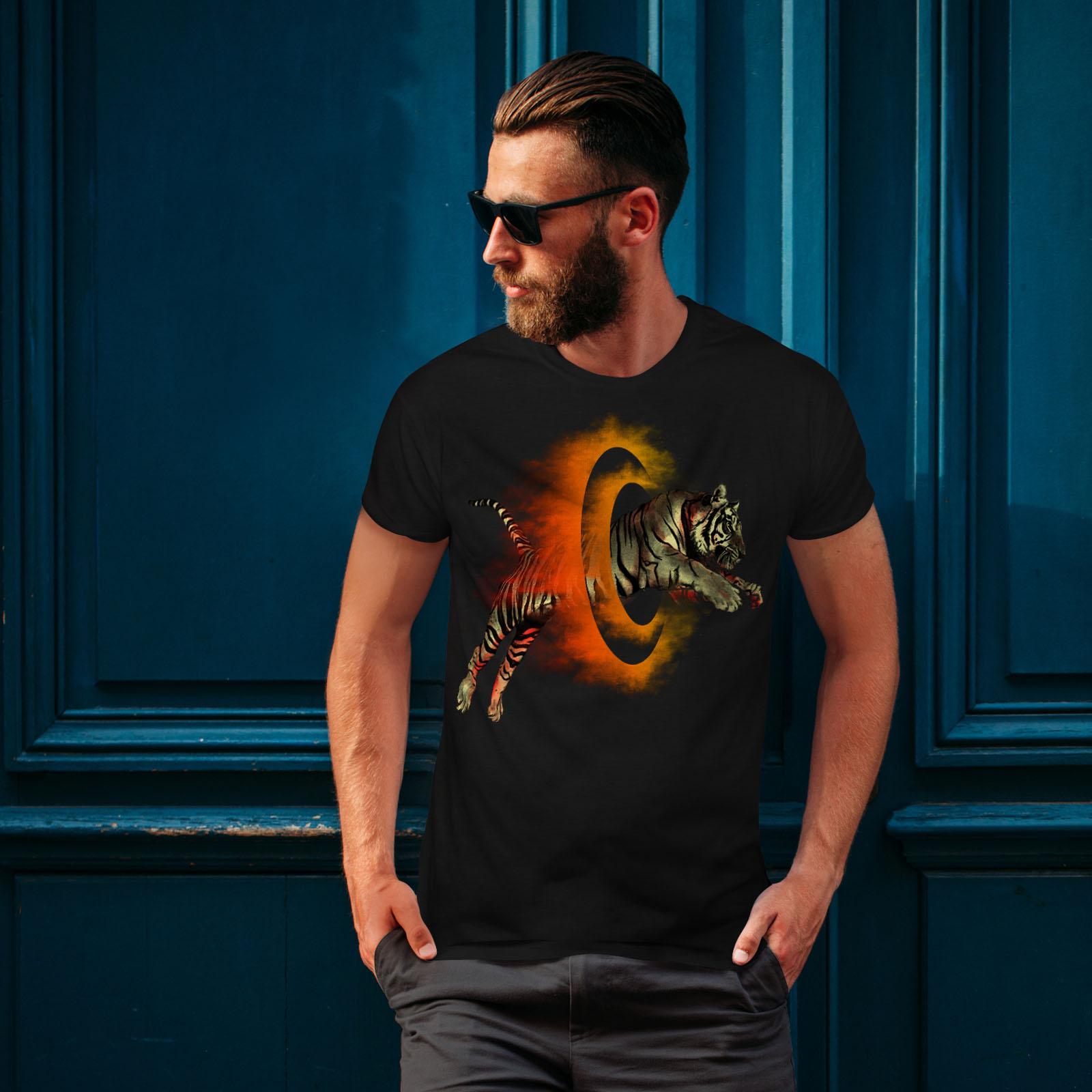 Wellcoda-Tiger-Portal-Cool-Mens-T-shirt-Flame-Graphic-Design-Printed-Tee thumbnail 4