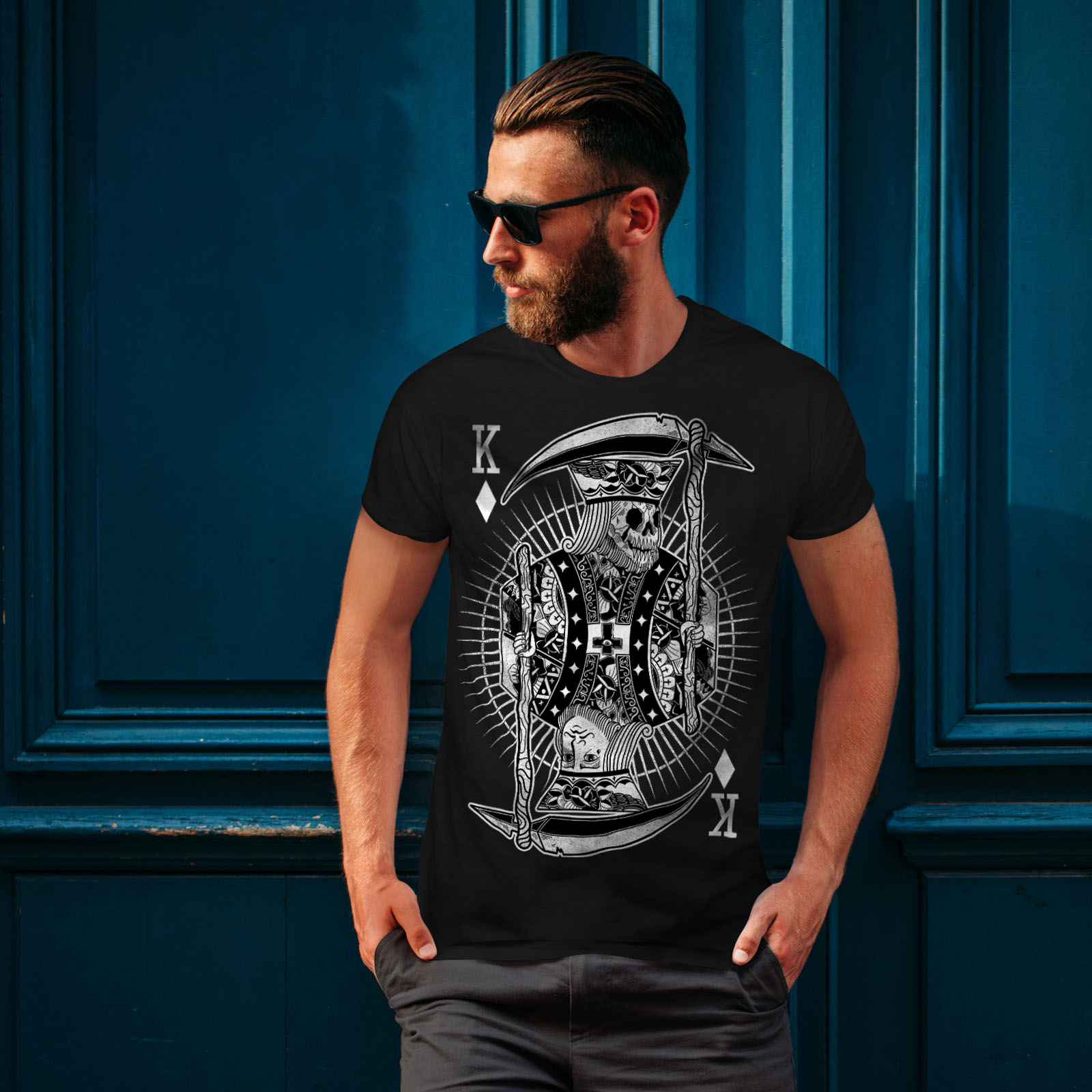 Wellcoda-Poker-Horror-King-Skull-Mens-T-shirt-Graphic-Design-Printed-Tee thumbnail 4