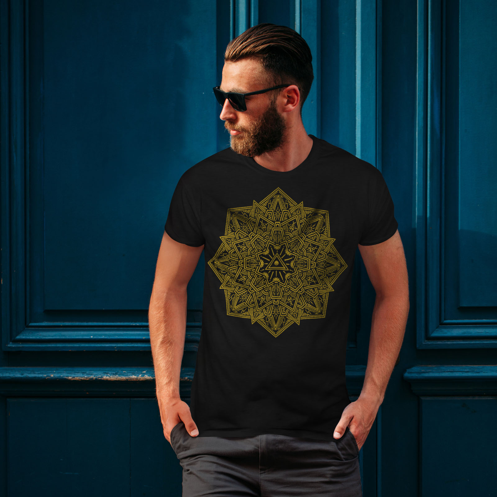 Yoga JANTRA design grafico stampato T-shirt Wellcoda Mandala Arte Da Uomo T-shirt