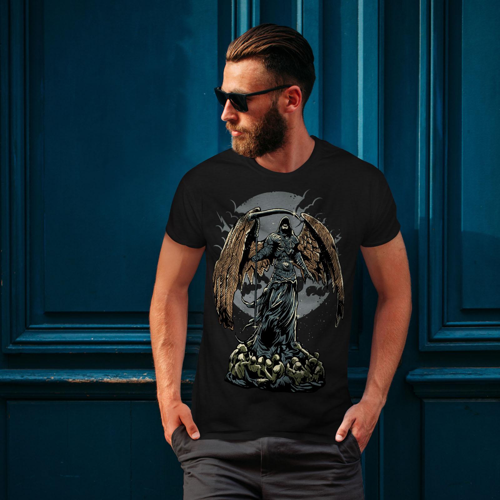 Wellcoda-Evil-Grim-Reaper-Mens-T-shirt-Horror-Graphic-Design-Printed-Tee thumbnail 4