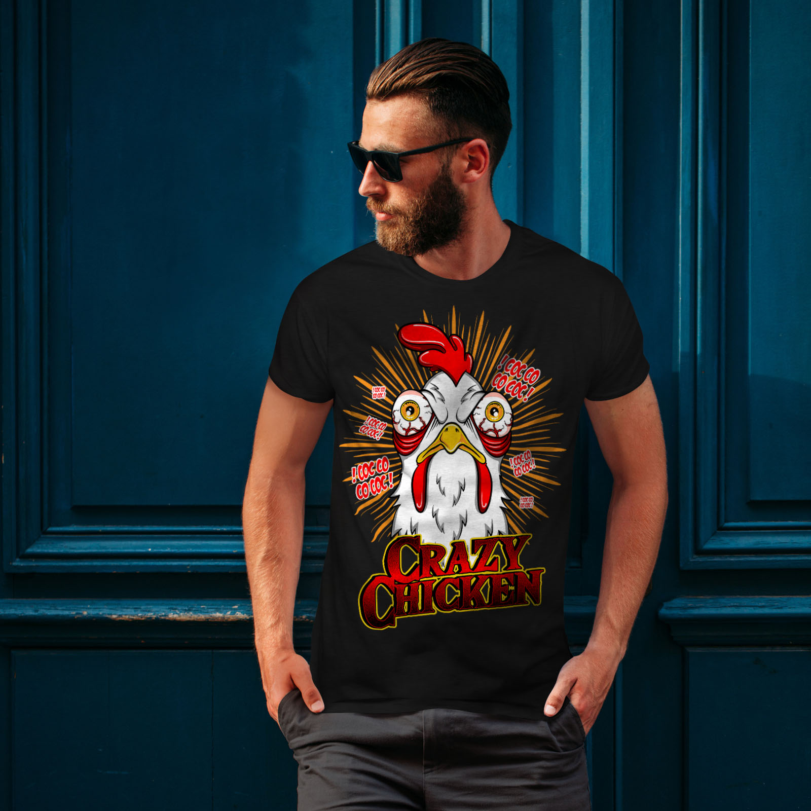 thumbnail 4 - Wellcoda-Crazy-Chicken-Mens-T-shirt-Funny-Face-Graphic-Design-Printed-Tee