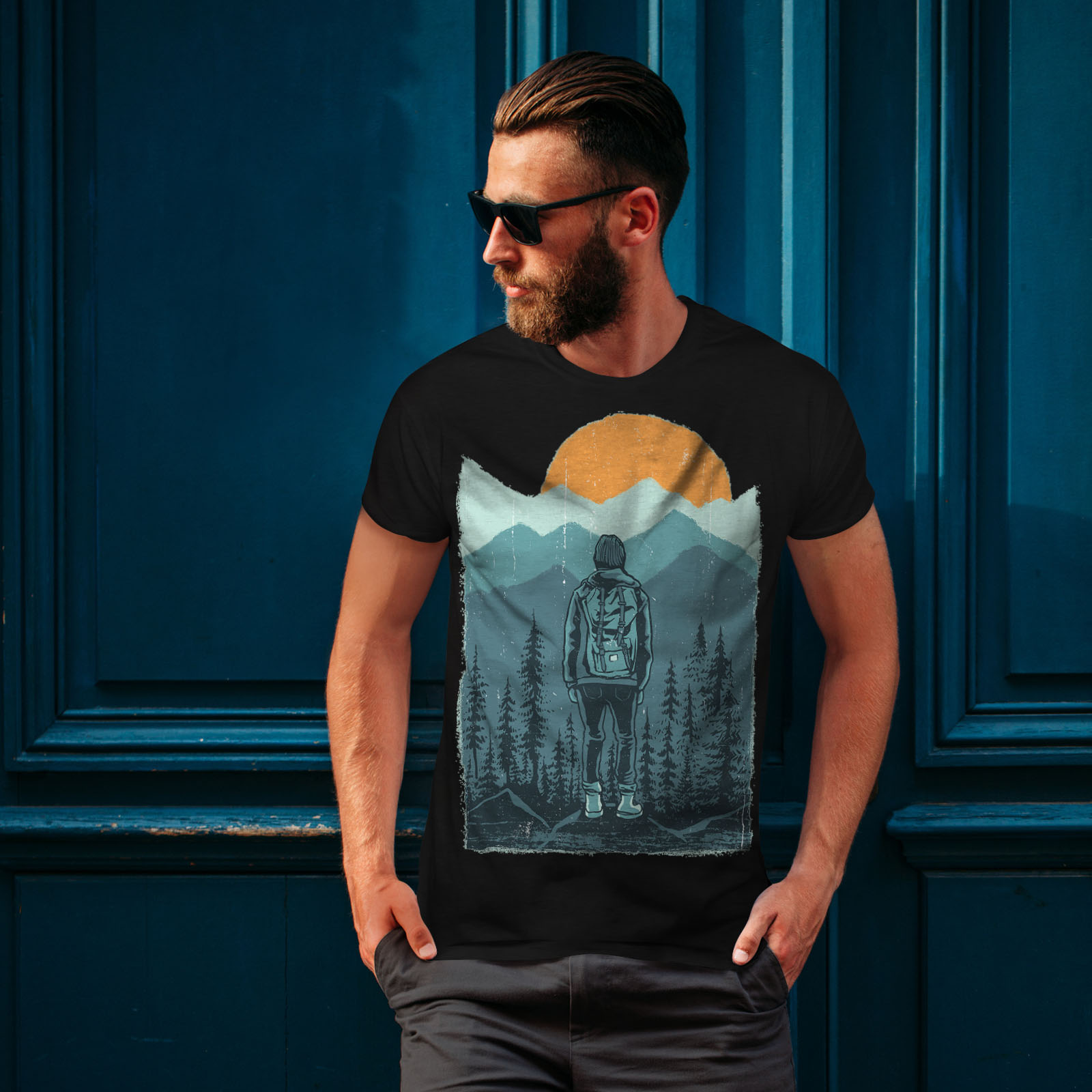Wellcoda-SUNSET-Wilderness-CAMP-Da-Uomo-T-shirt-Wild-design-grafico-stampato-T-shirt miniatura 4